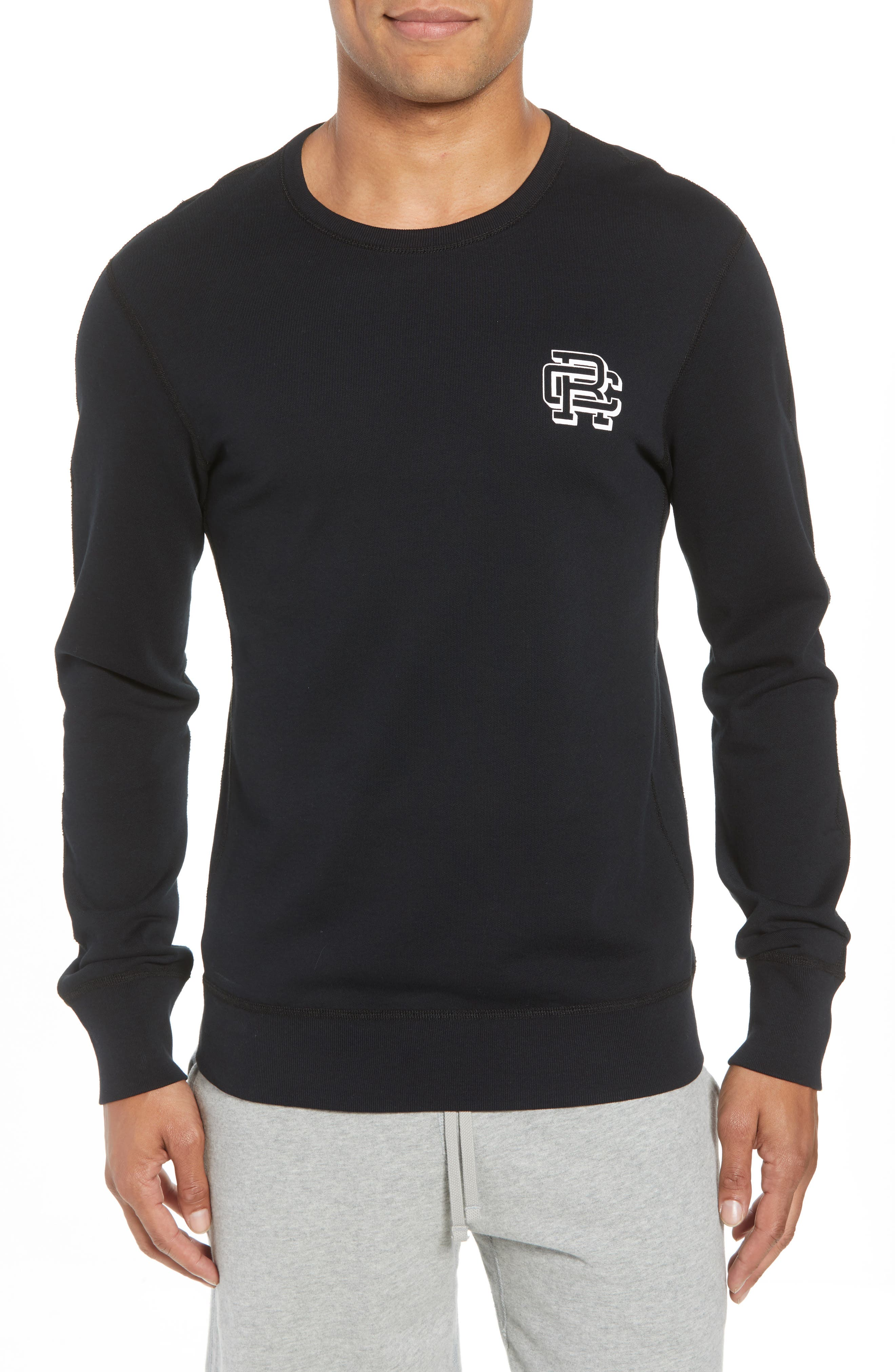 Lightweight Classic Fit Sweatshirt,                         Main,                         color, BLACK