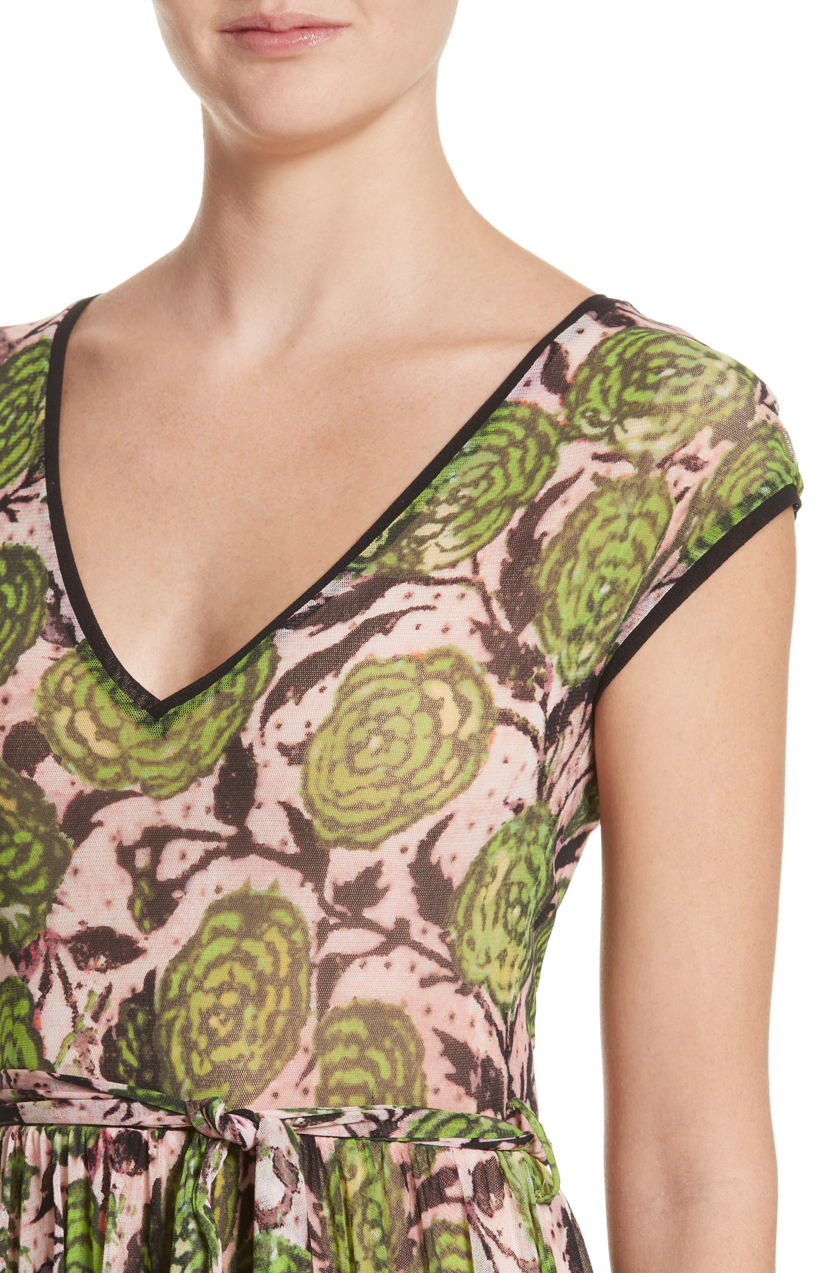 Patchwork Print Tulle Dress,                             Alternate thumbnail 4, color,                             300