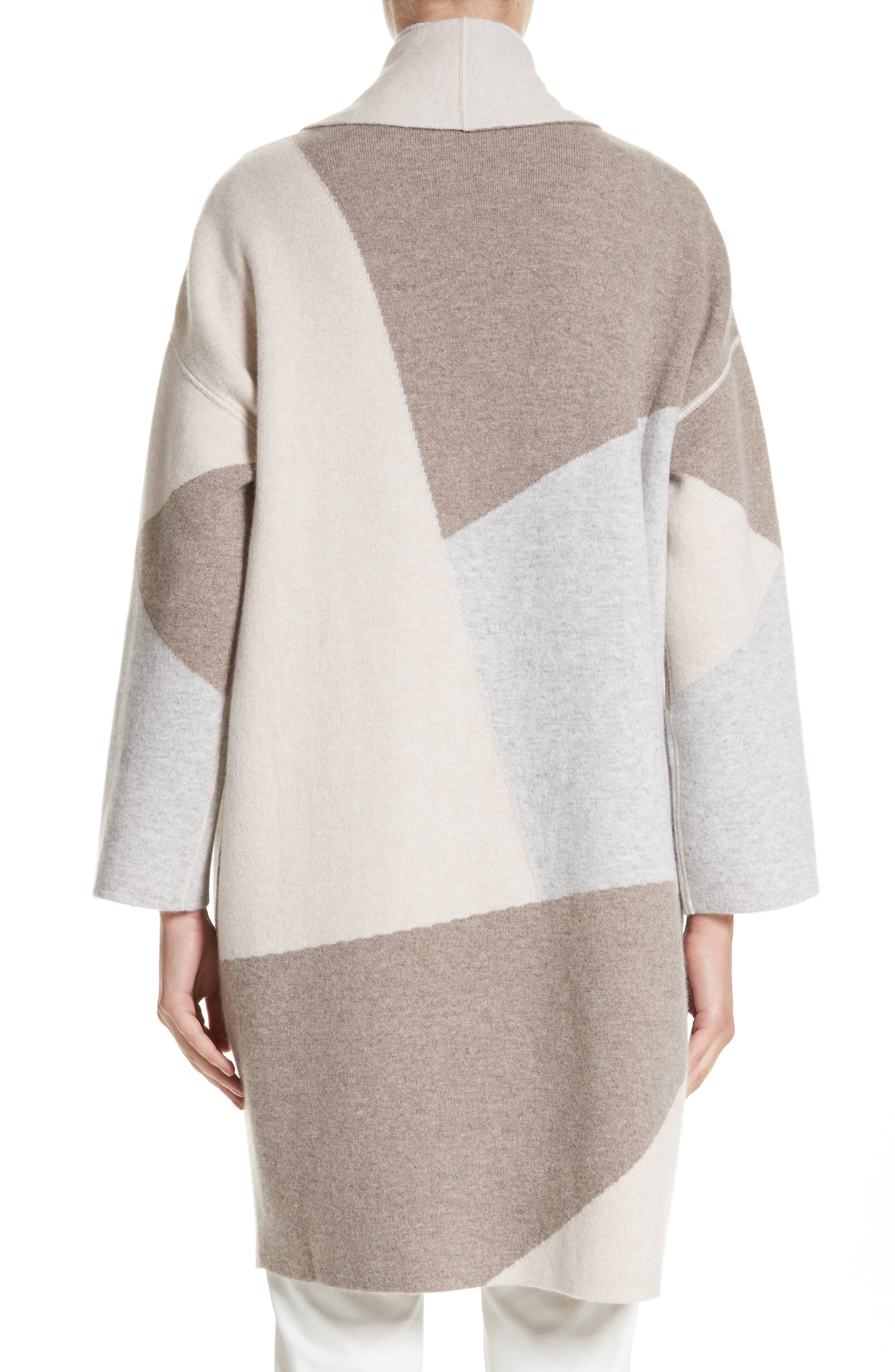 Stretch Cashmere Reversible Felted Colorblock Cardigan,                             Alternate thumbnail 3, color,                             020