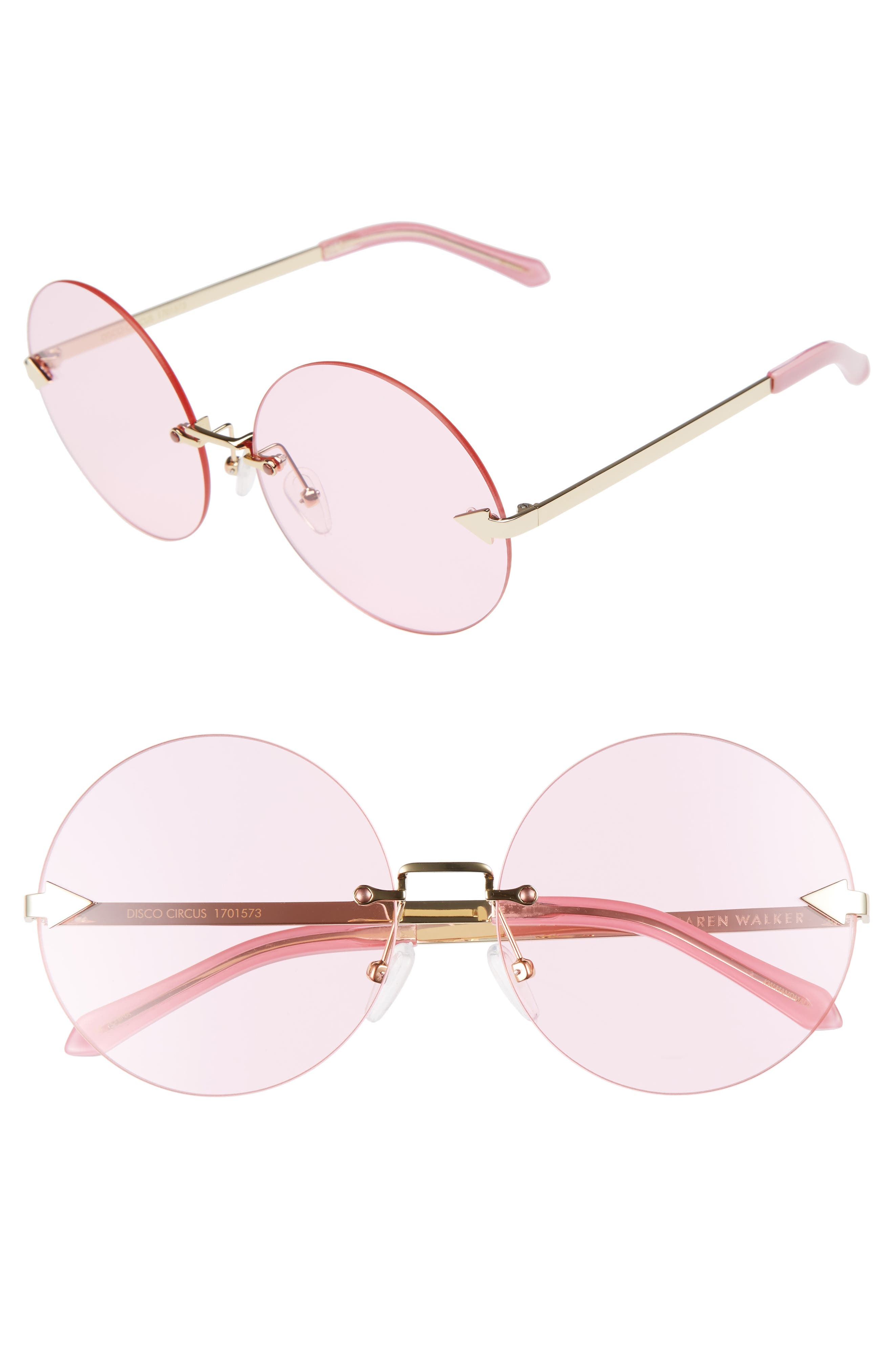 Disco Circus 60mm Rimless Round Sunglasses,                             Main thumbnail 3, color,