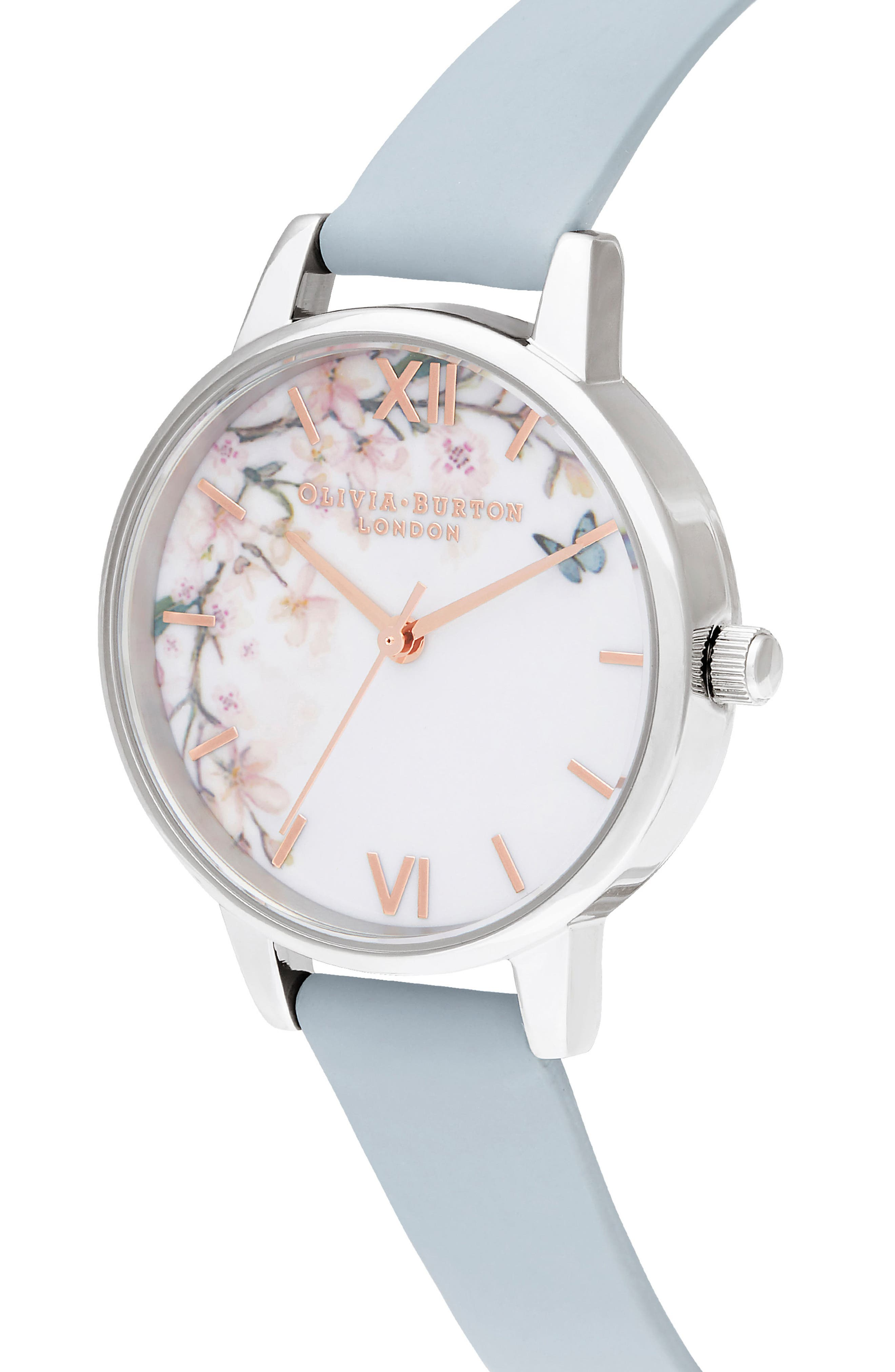Pretty Blossom Leather Strap Watch, 30mm,                             Alternate thumbnail 4, color,                             CHALK/ WHITE/ BLOSSOM/ SILVER