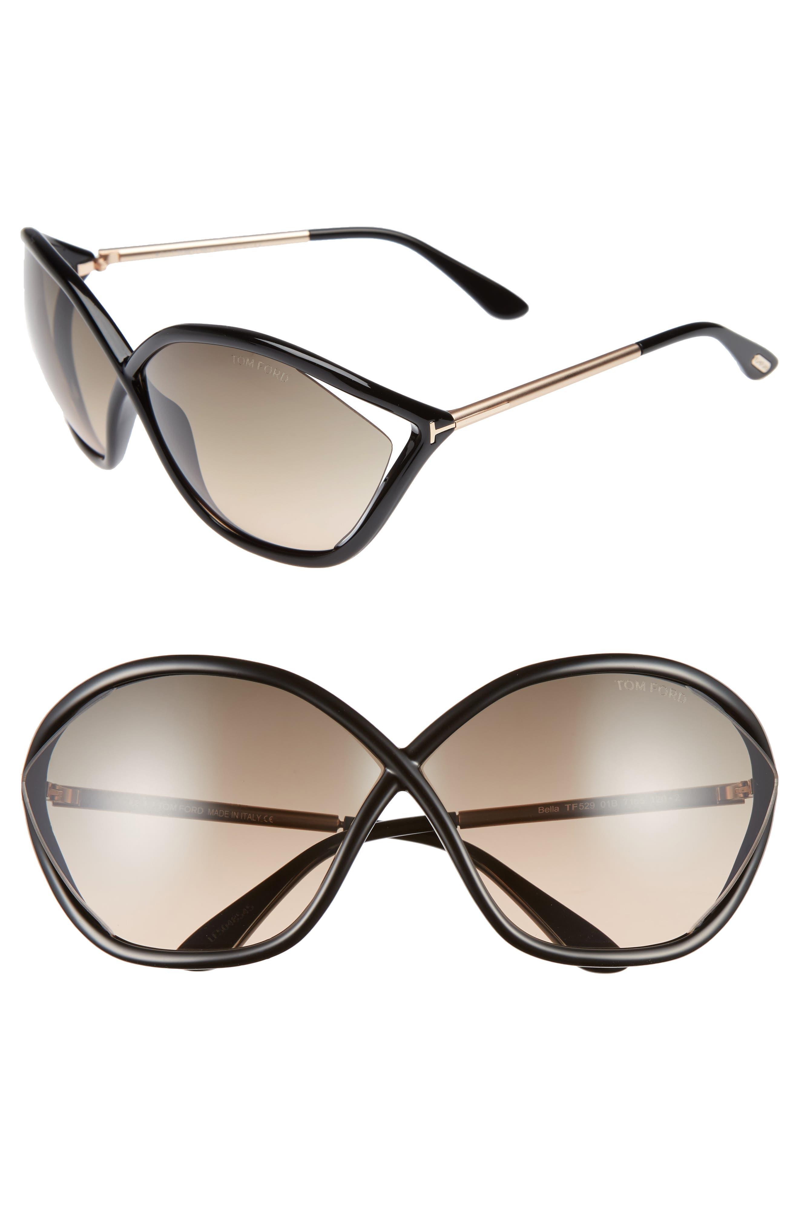 Bella 71mm Gradient Lens Sunglasses,                             Main thumbnail 1, color,                             001