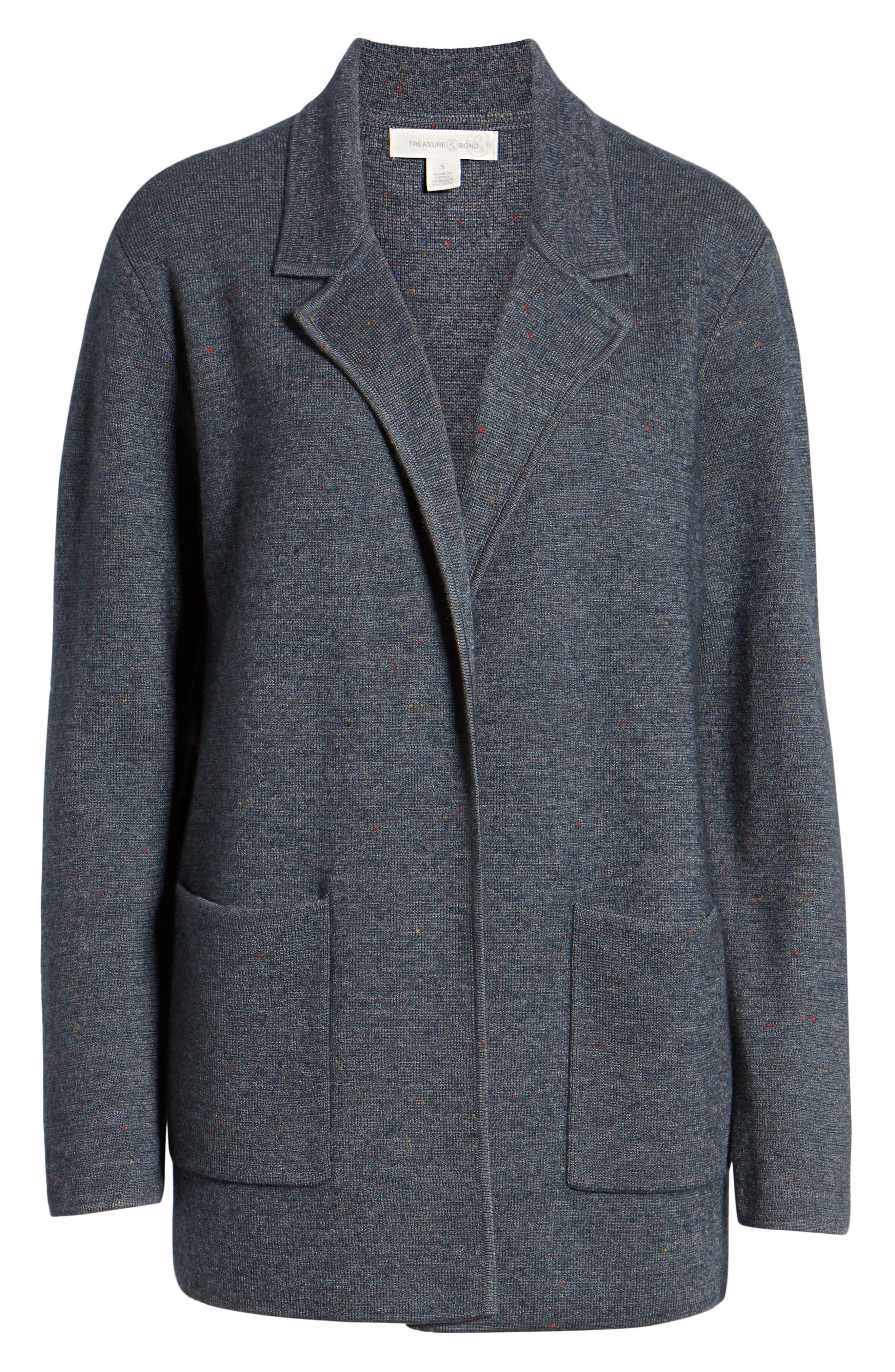 Sweater Blazer,                             Alternate thumbnail 6, color,                             GREY MEDIUM CHARCOAL HEATHER