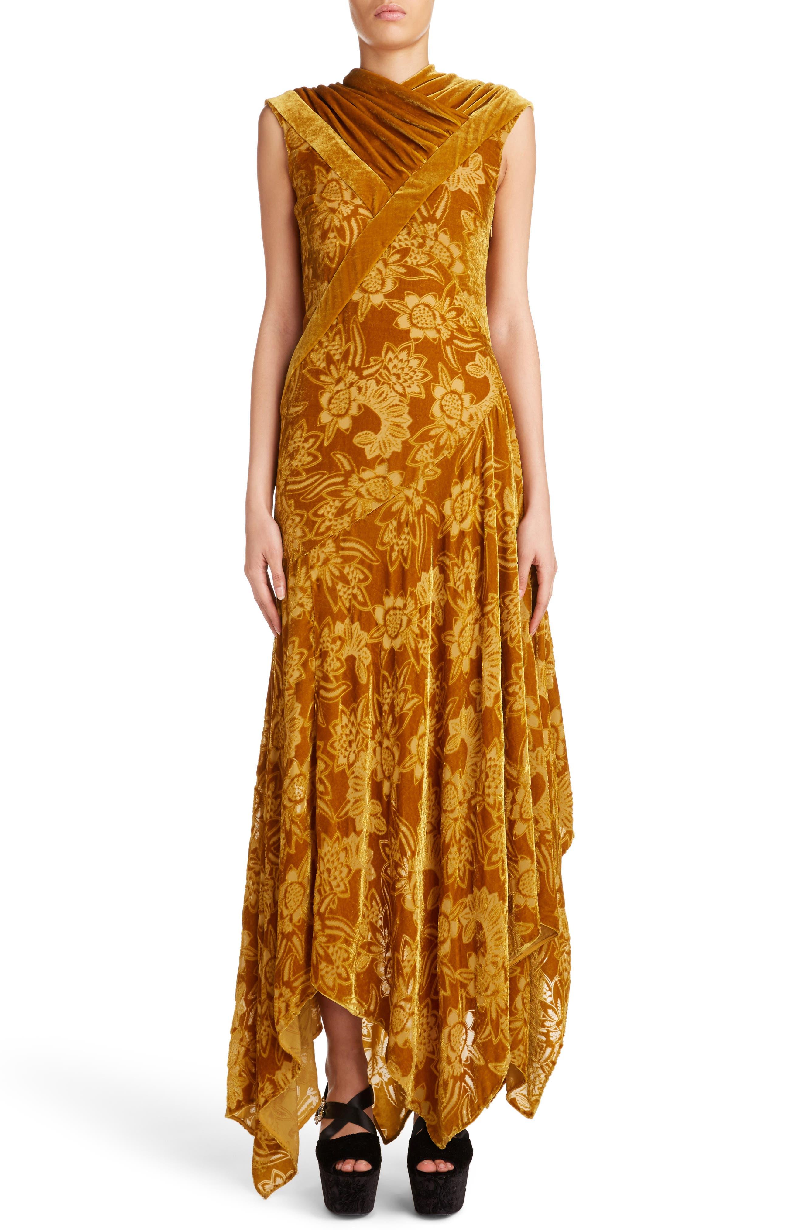 Velvet Devoré Handkerchief Hem Gown,                             Alternate thumbnail 5, color,                             710