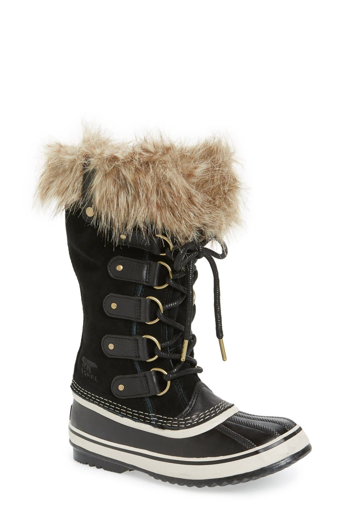 'Joan of Arctic' Waterproof Snow Boot,                             Main thumbnail 1, color,                             BLACK/ STONE
