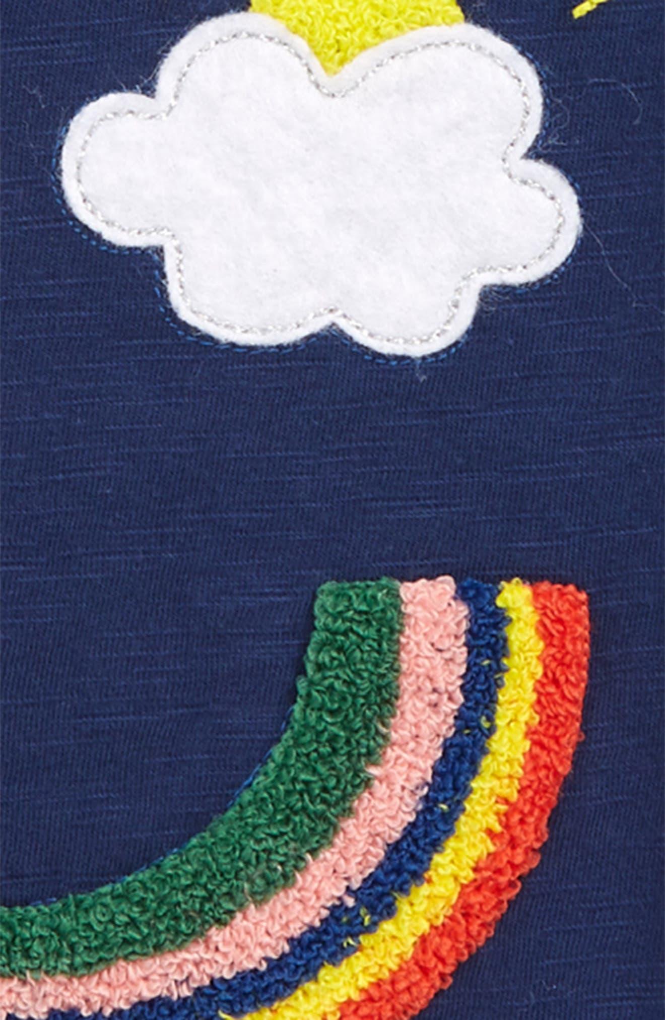 Rainbow Appliqué Tee,                             Alternate thumbnail 2, color,                             NAV COLLEGE BLUE FACE