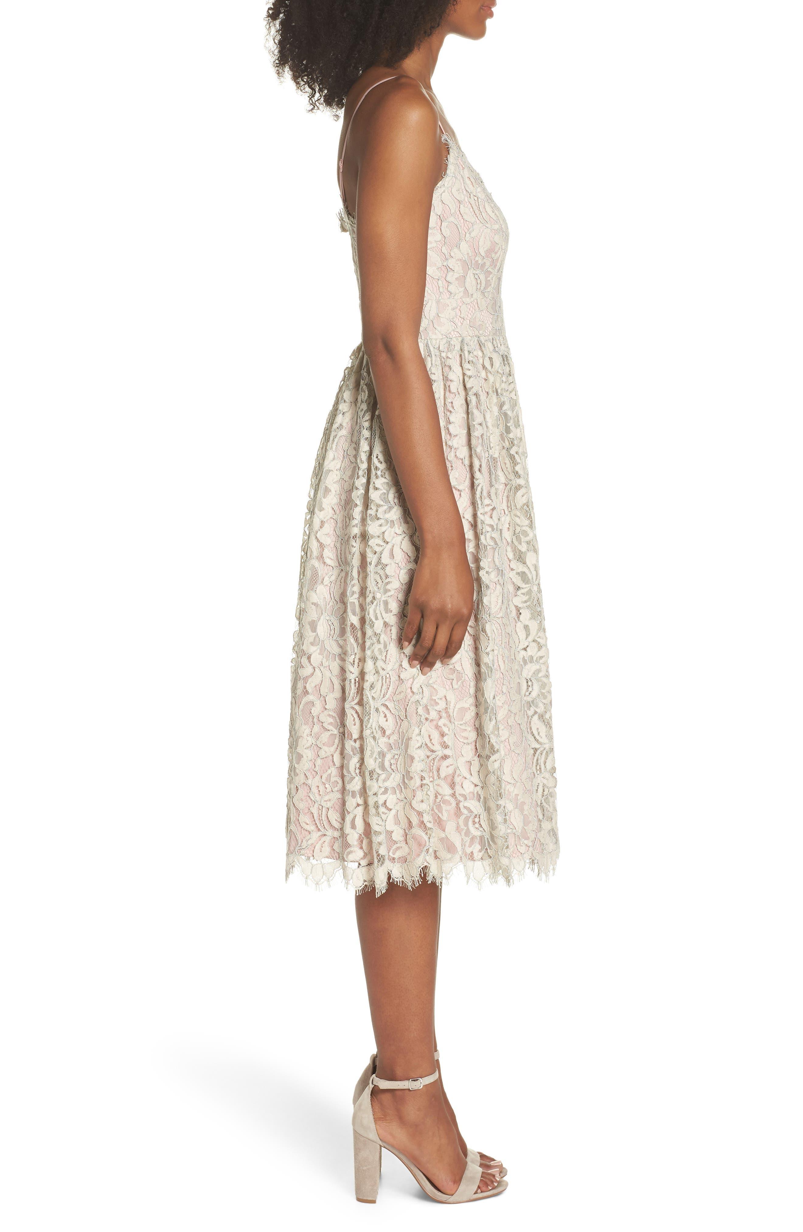 Lace Fit & Flare Dress,                             Alternate thumbnail 3, color,                             900