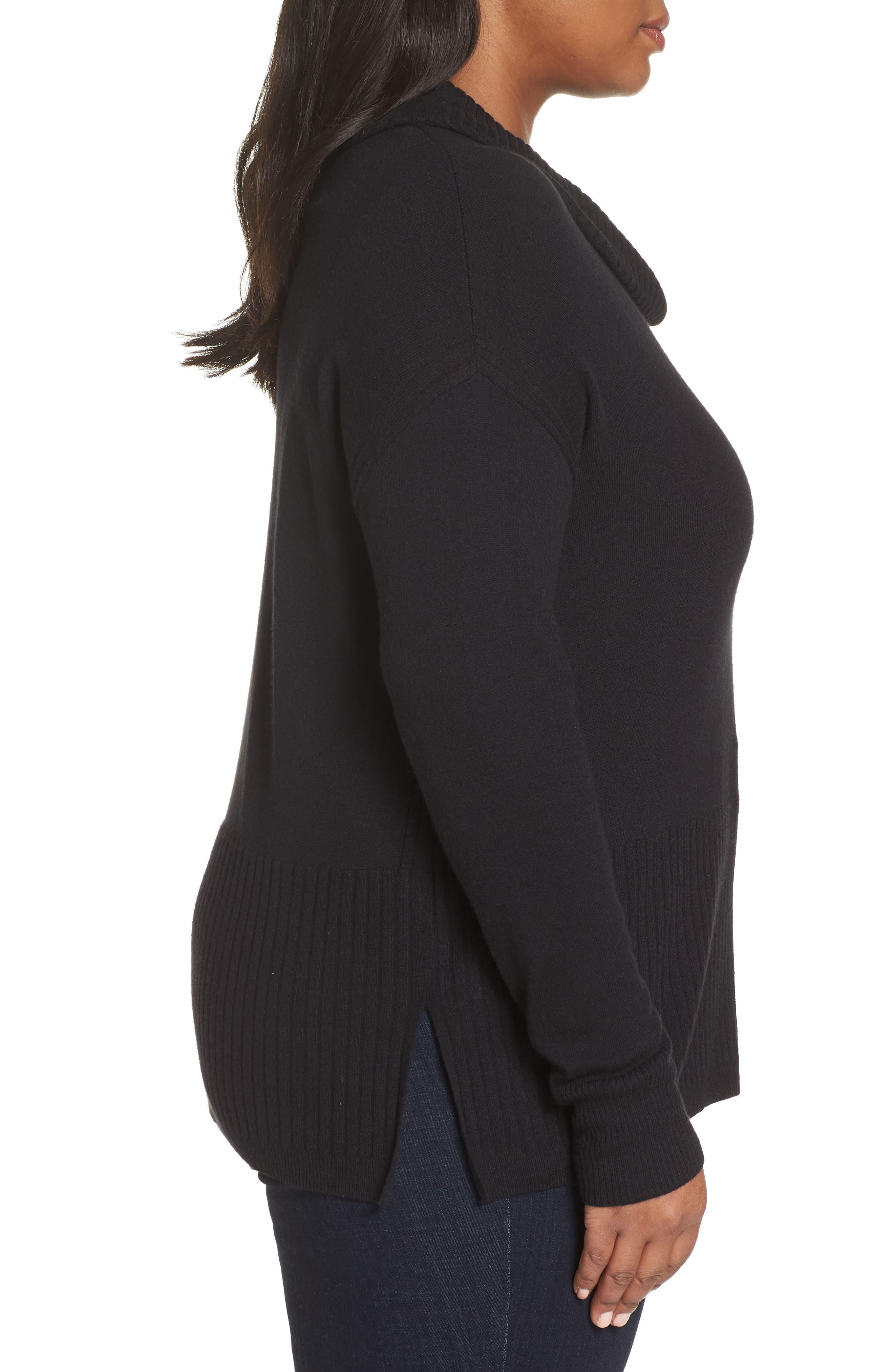 SEJOUR,                             Cowl Neck Pullover,                             Alternate thumbnail 3, color,                             BLACK