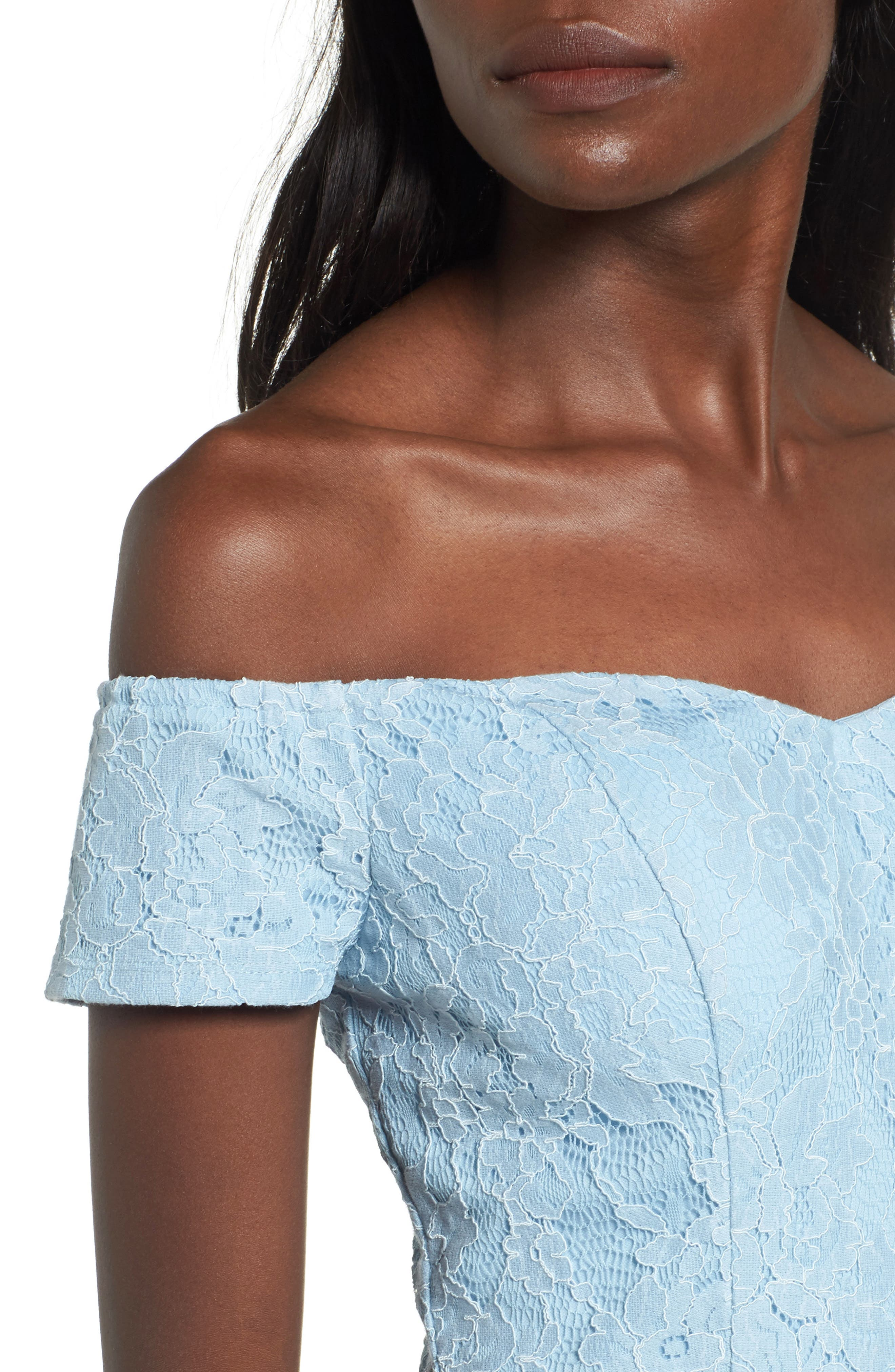 Lace Off the Shoulder Fit & Flare Dress,                             Alternate thumbnail 4, color,                             400
