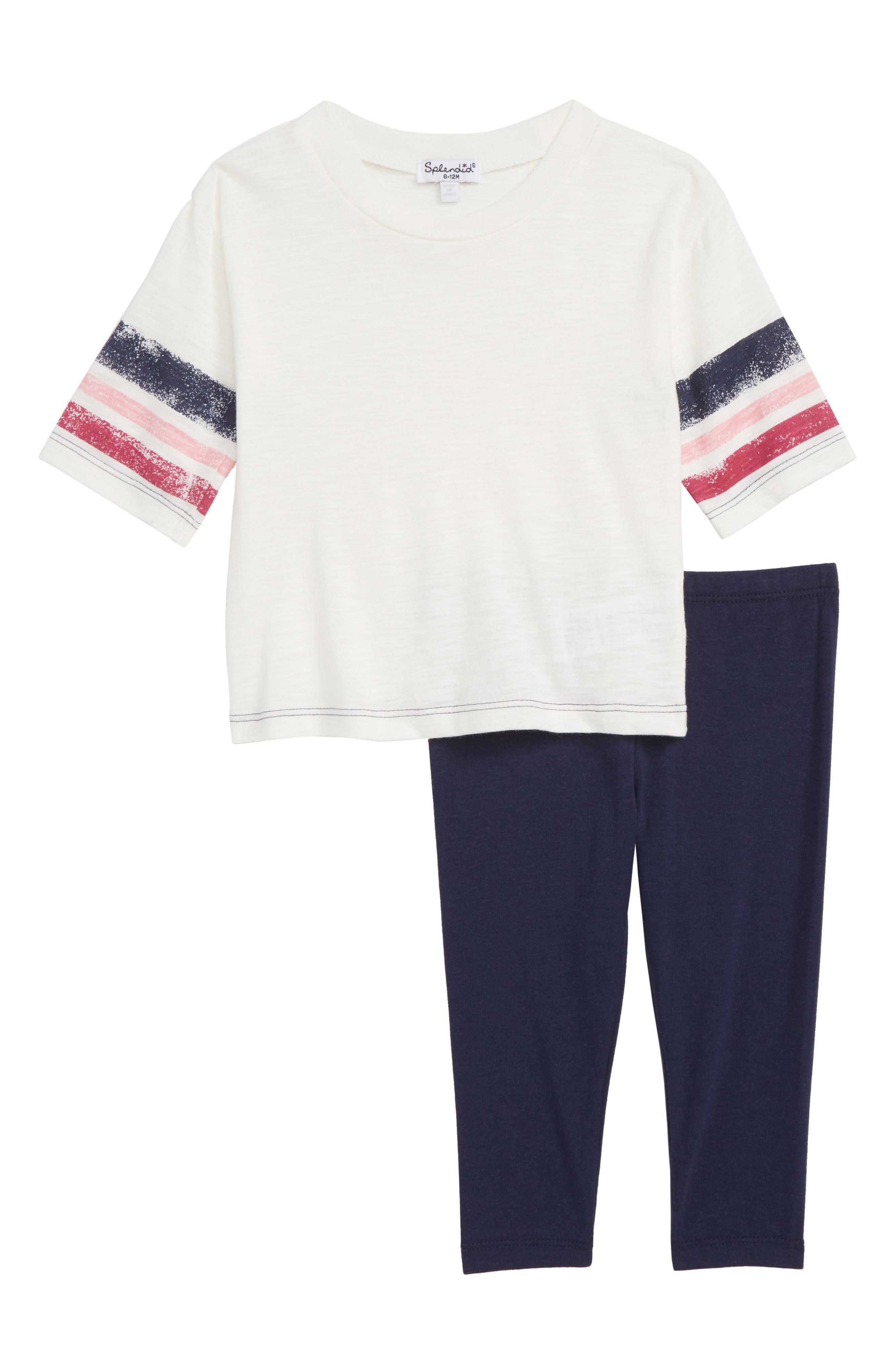 Roller Stripe Tee & Leggings Set,                             Main thumbnail 1, color,                             OFF WHITE