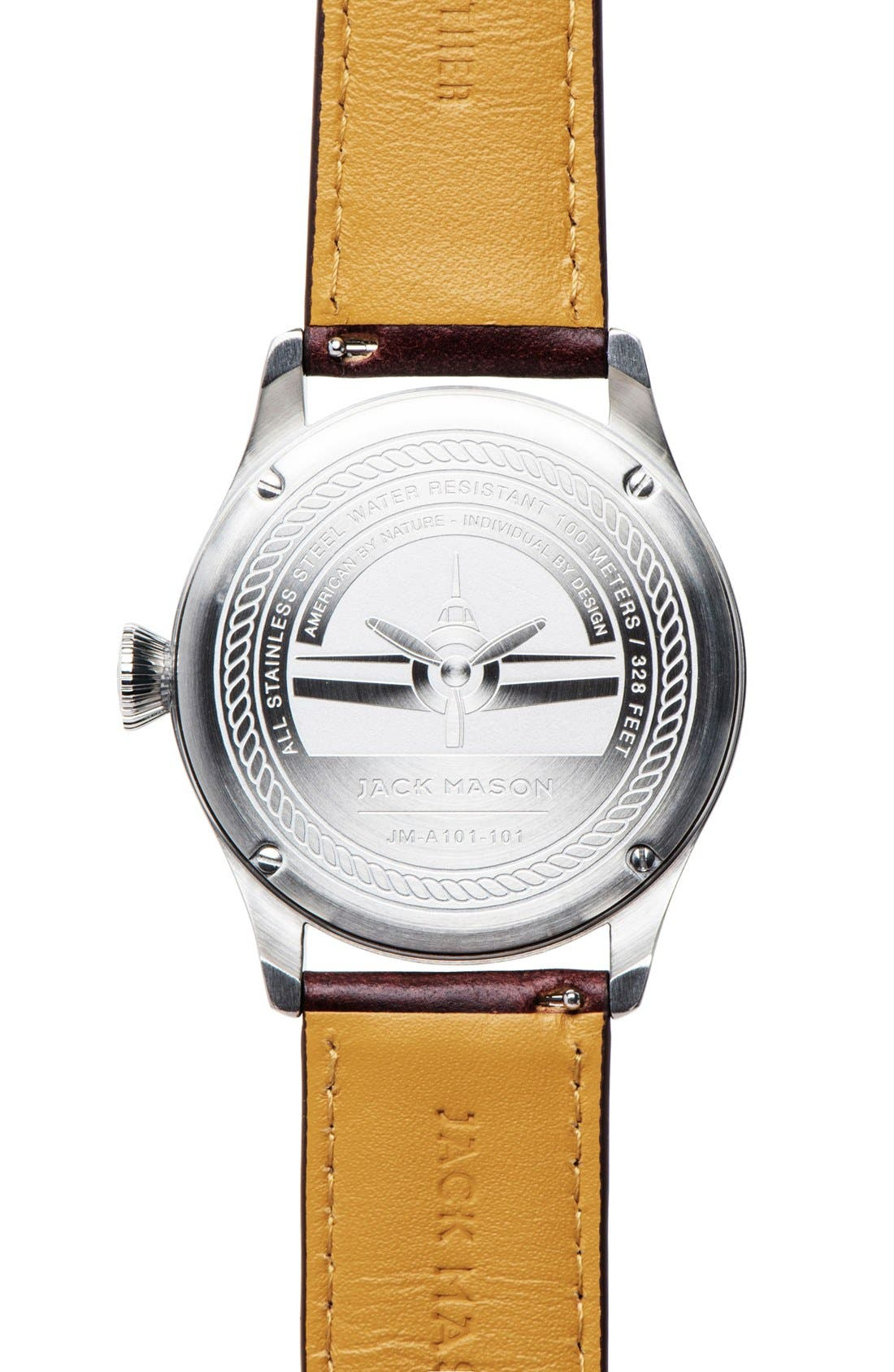 Aviator Leather Strap Watch, 42mm,                             Alternate thumbnail 6, color,                             SILVER/ NAVY/ DARK BROWN