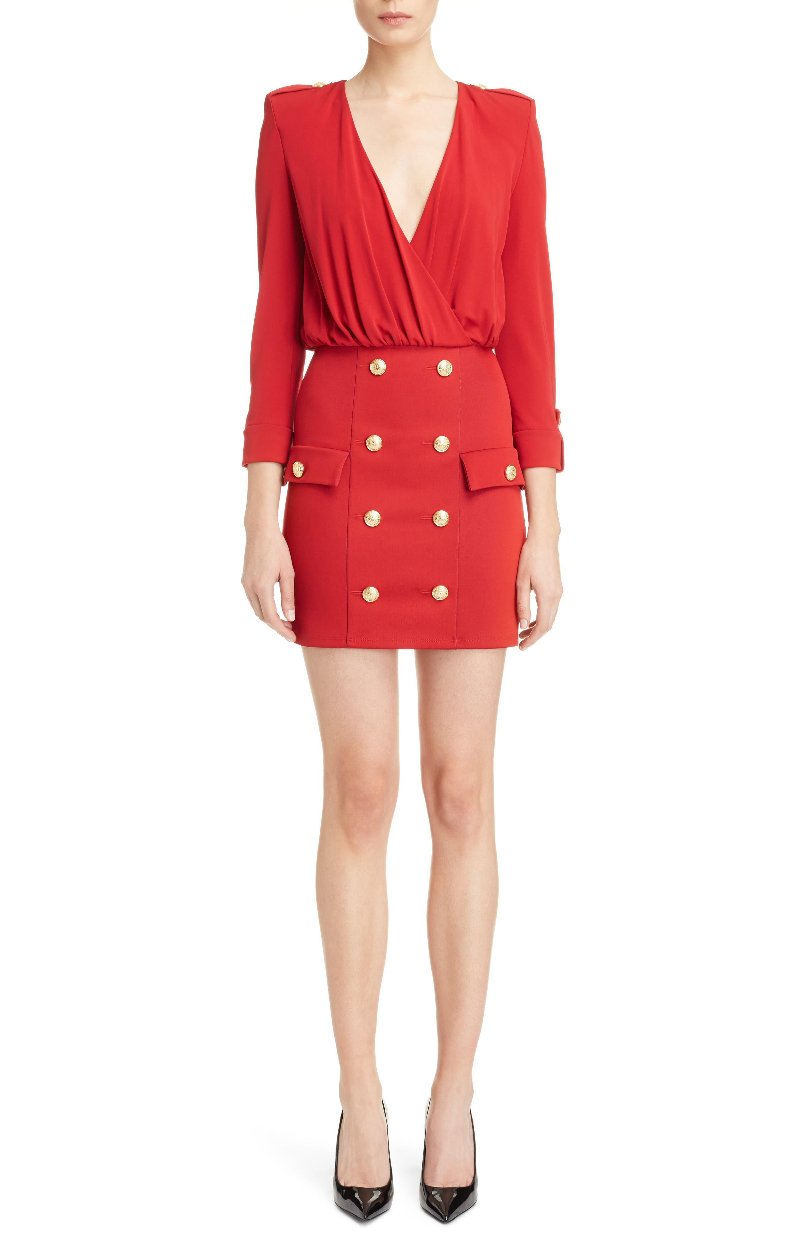Button Detail Dress,                         Main,                         color, RED