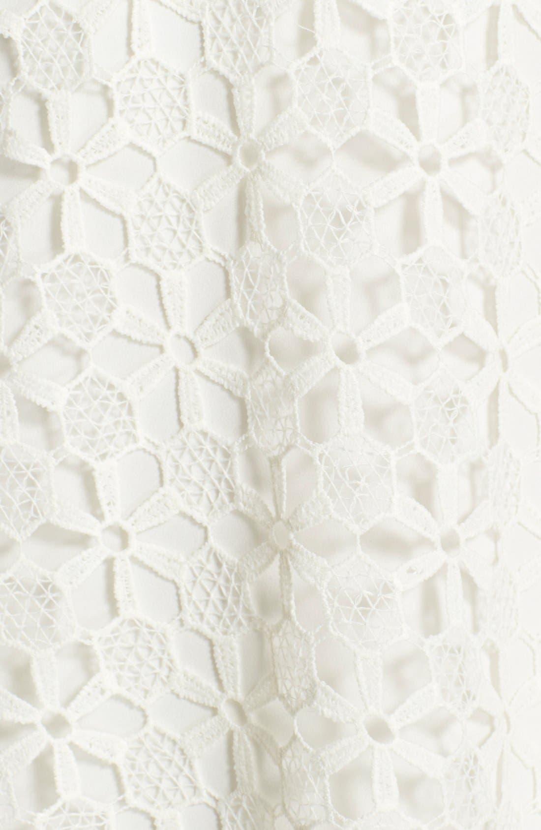 Floral Lace Trapeze Halter Dress,                             Alternate thumbnail 3, color,                             100