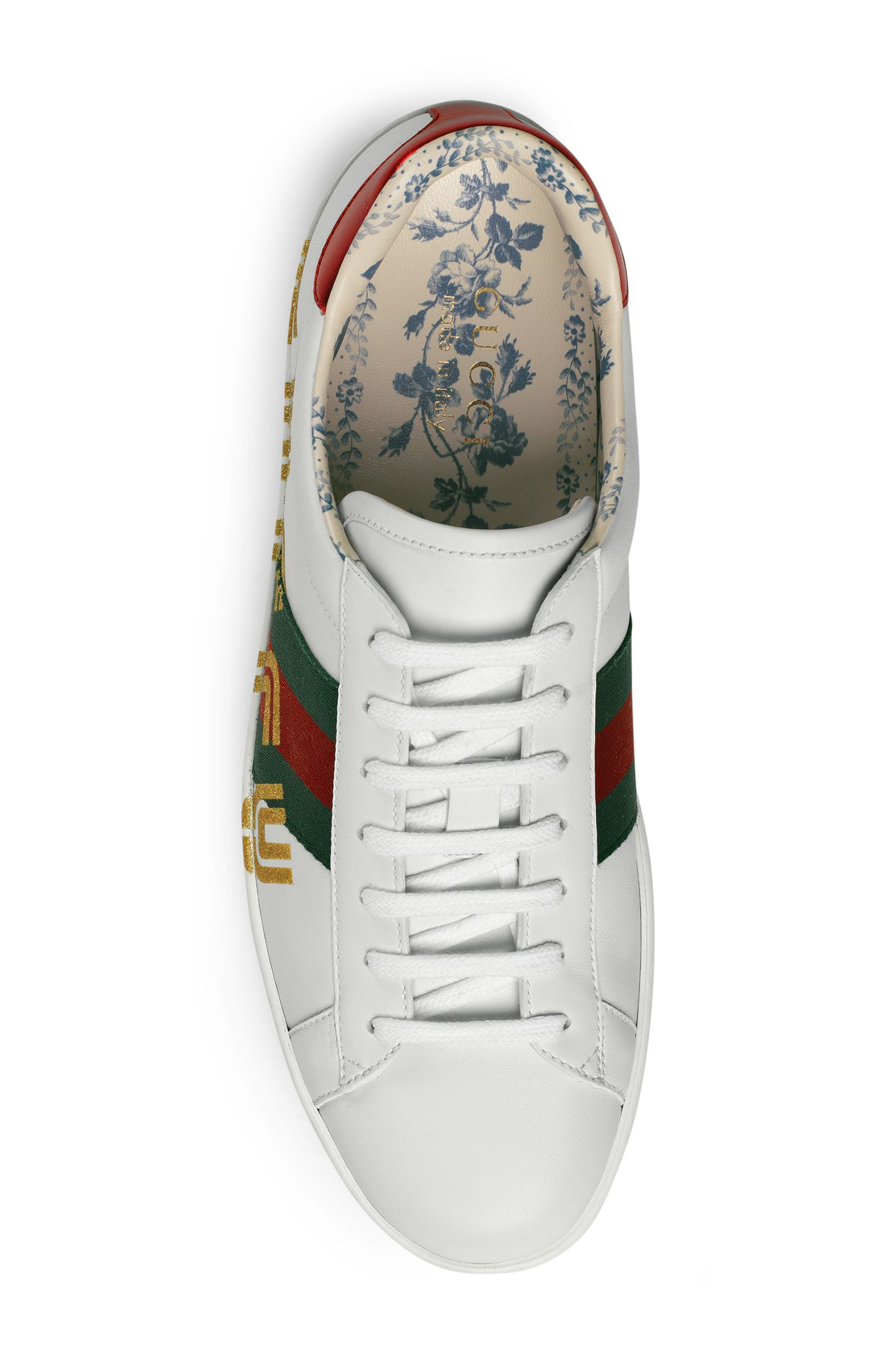 New Ace Guccy Print Sneaker,                             Alternate thumbnail 3, color,                             WHITE/ RED FLAME