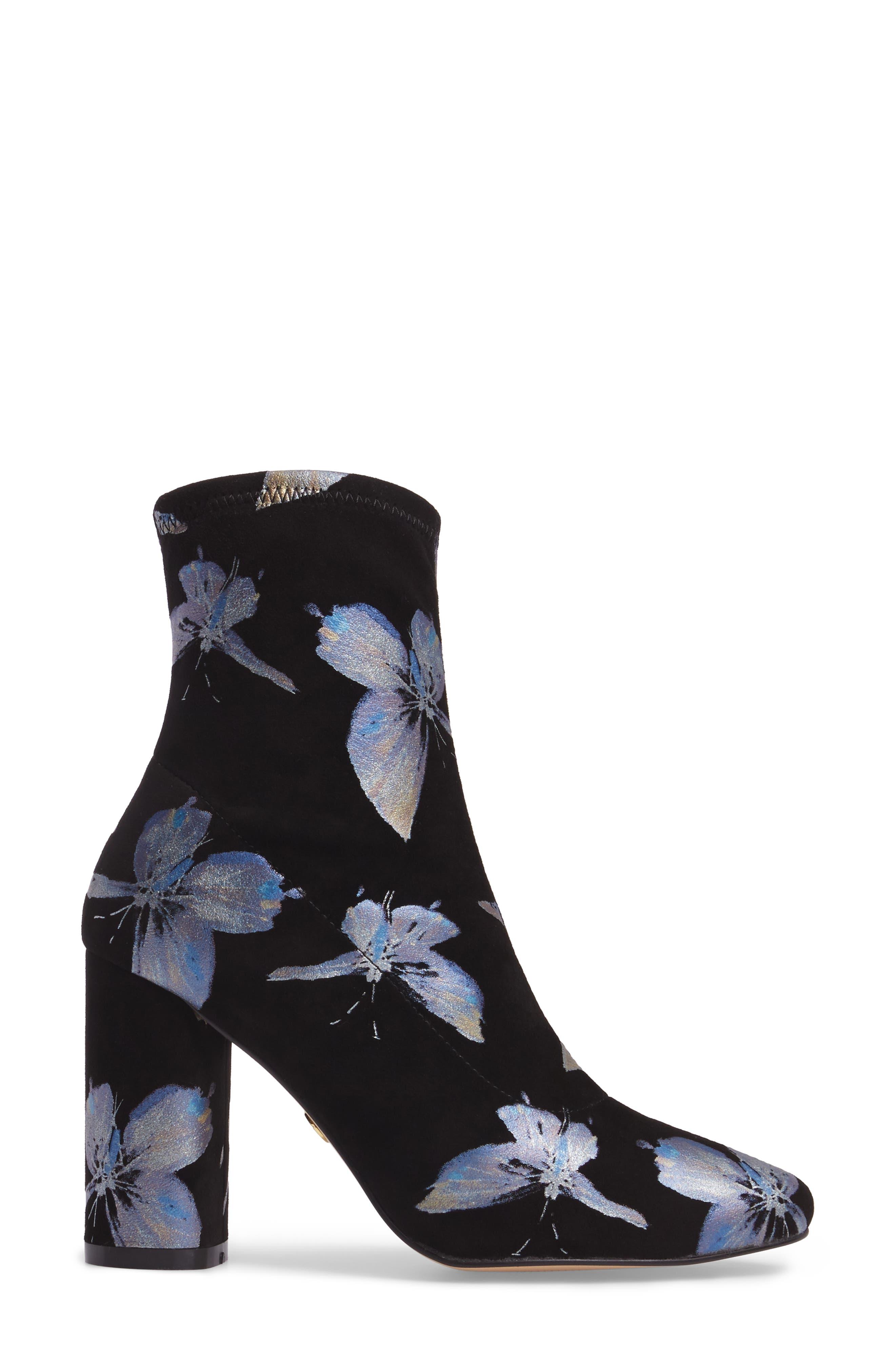 Fredda Butterfly Sock Bootie,                             Alternate thumbnail 3, color,                             001