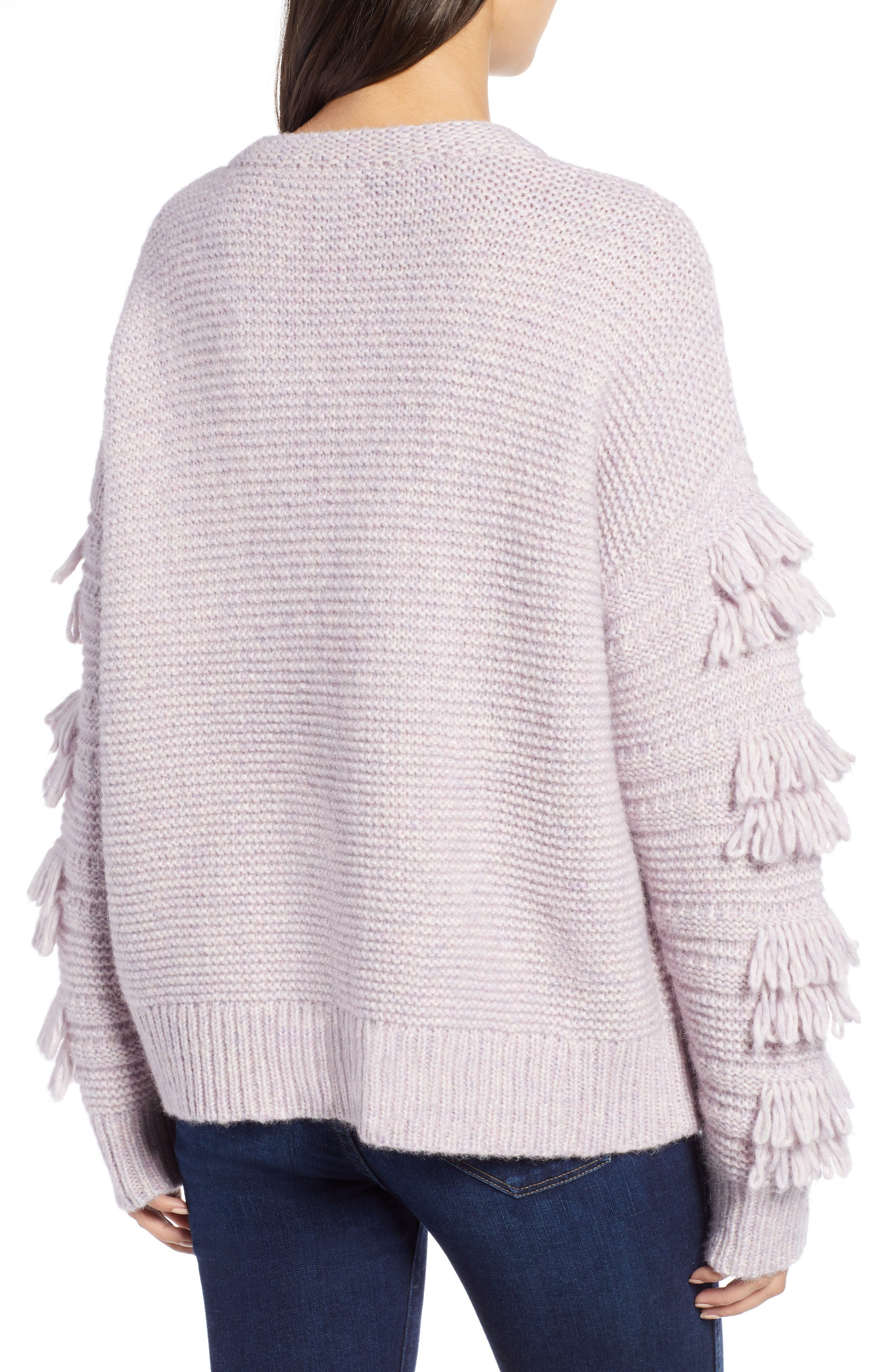 Fringe Sleeve Pullover Sweater,                             Alternate thumbnail 2, color,                             HEATHER PERIWINKLE