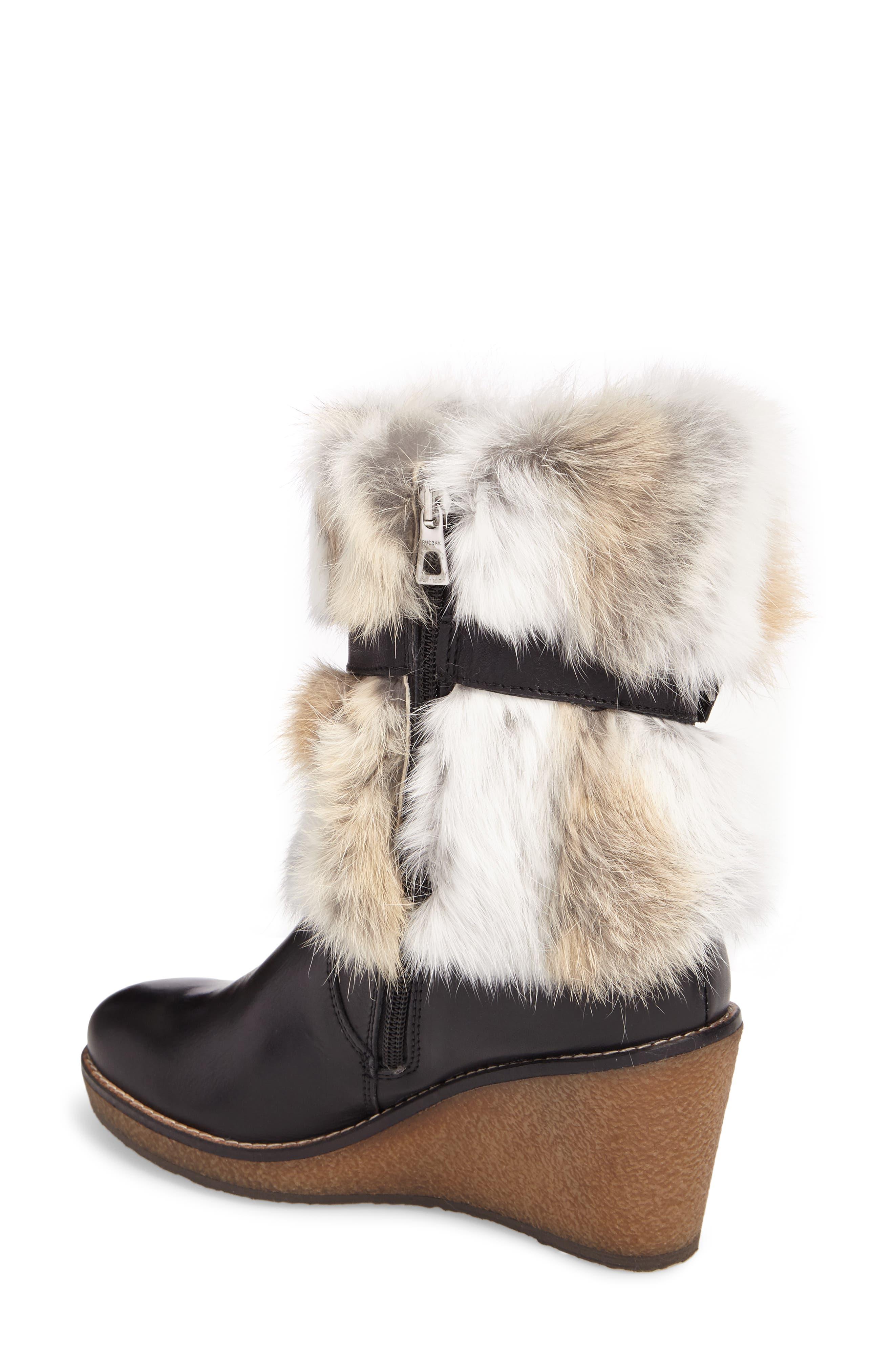 Tasarla Genuine Rabbit Fur Trim Boot,                             Alternate thumbnail 2, color,                             001