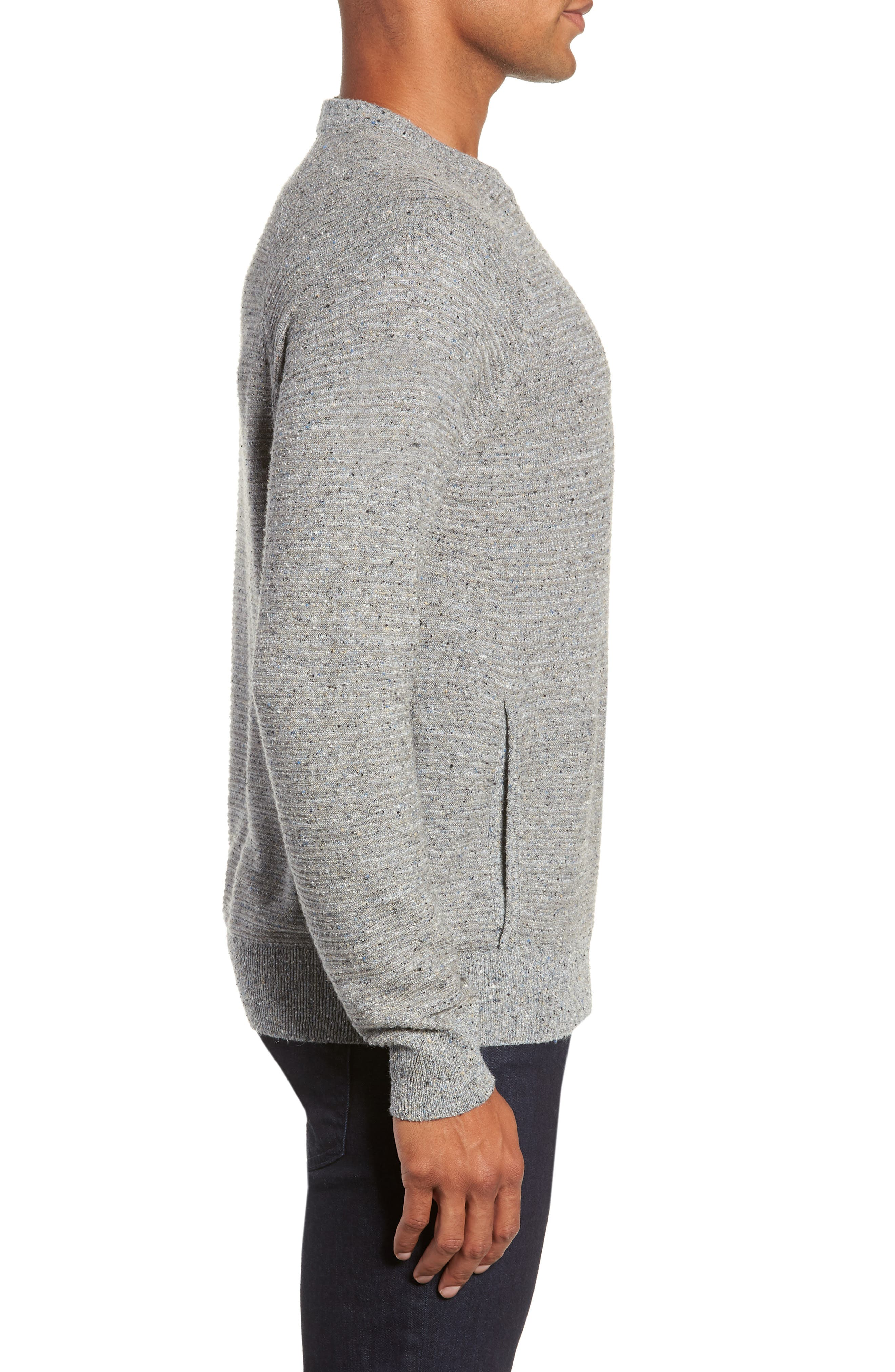 Speckle Stripe Sweater,                             Alternate thumbnail 3, color,                             GREY MIX