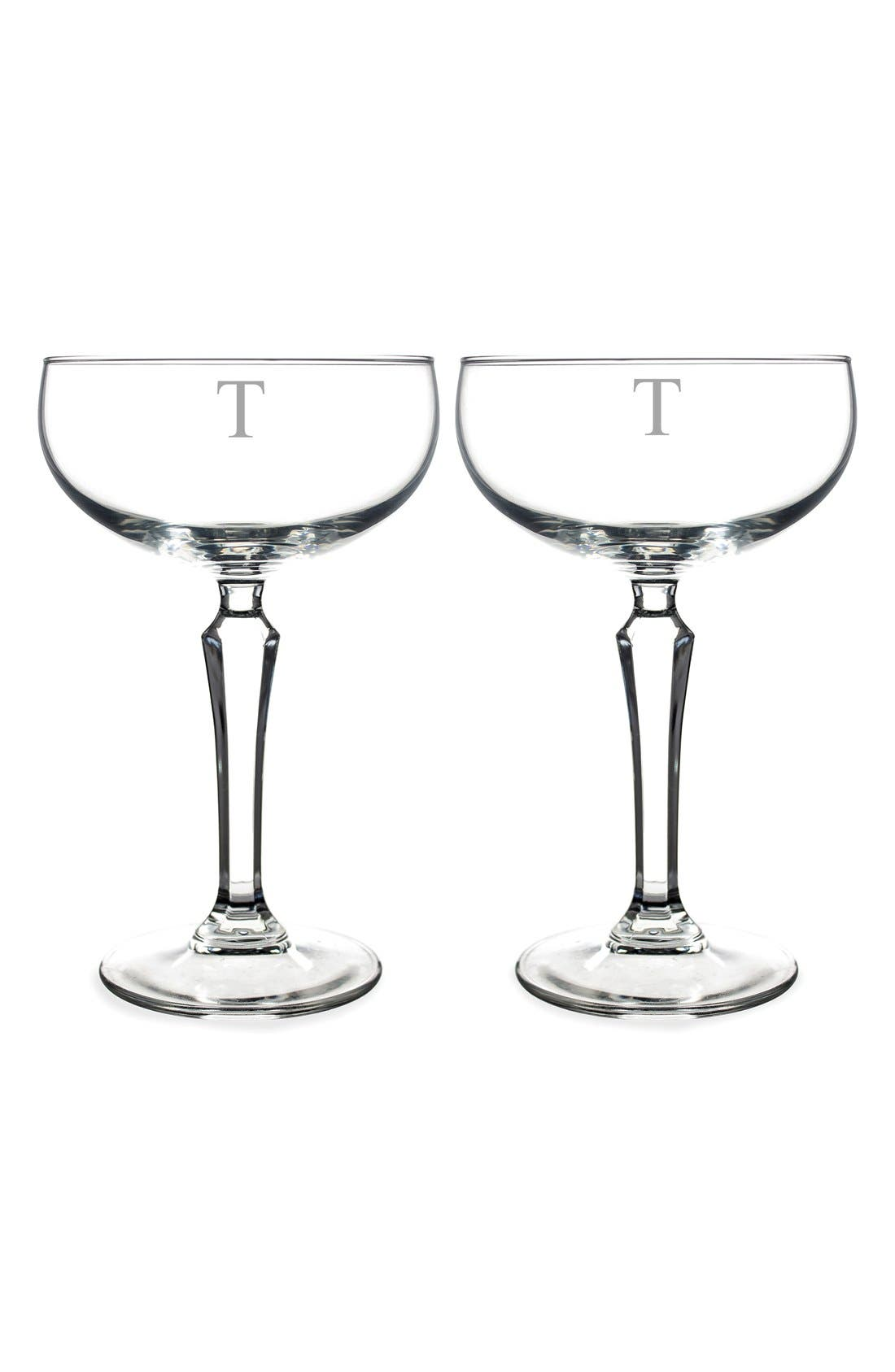 Monogram Coupe Cocktail/Champagne Glasses,                             Main thumbnail 22, color,