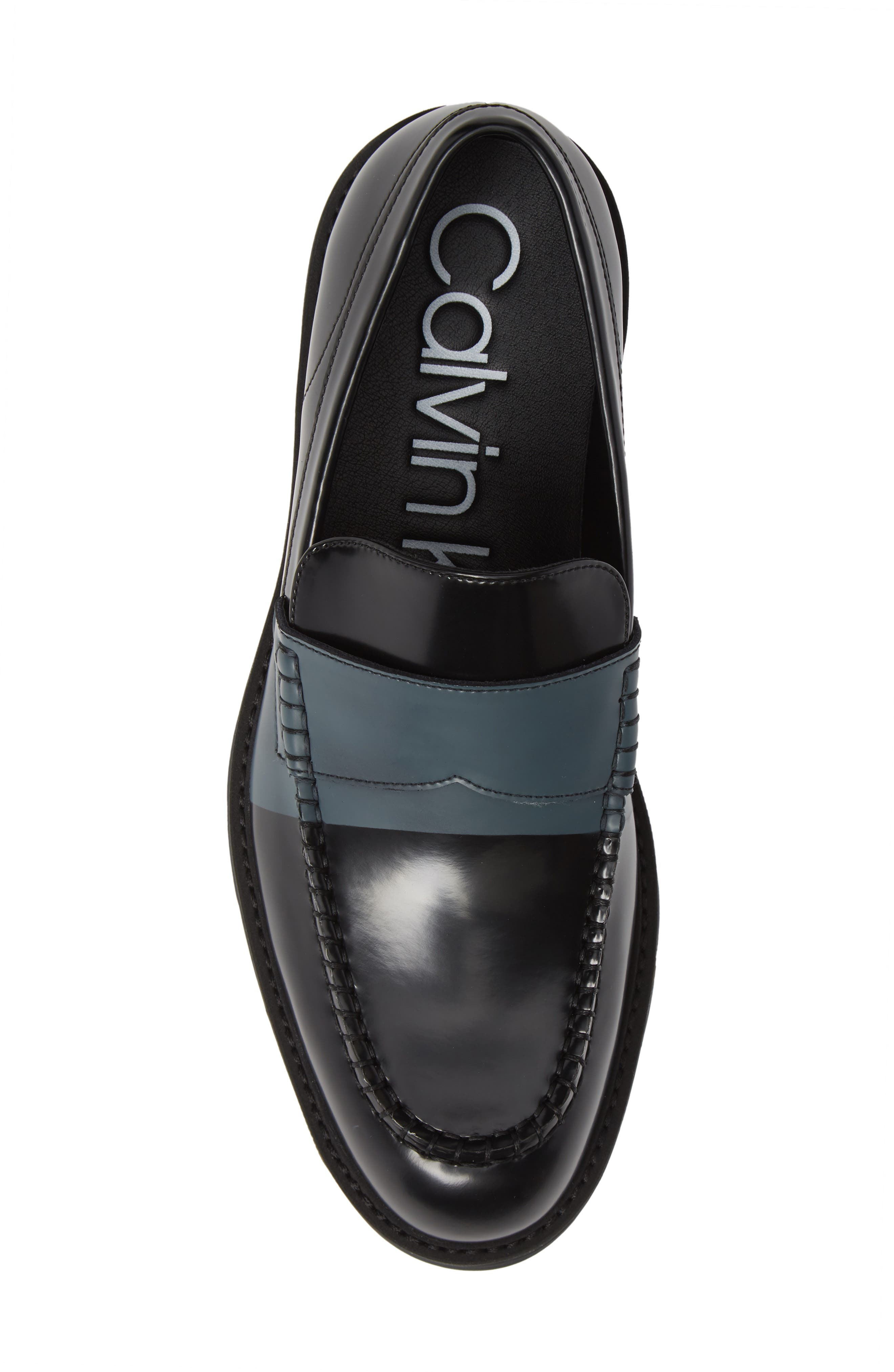 Florentino Penny Loafer,                             Alternate thumbnail 5, color,                             BLACK LEATHER