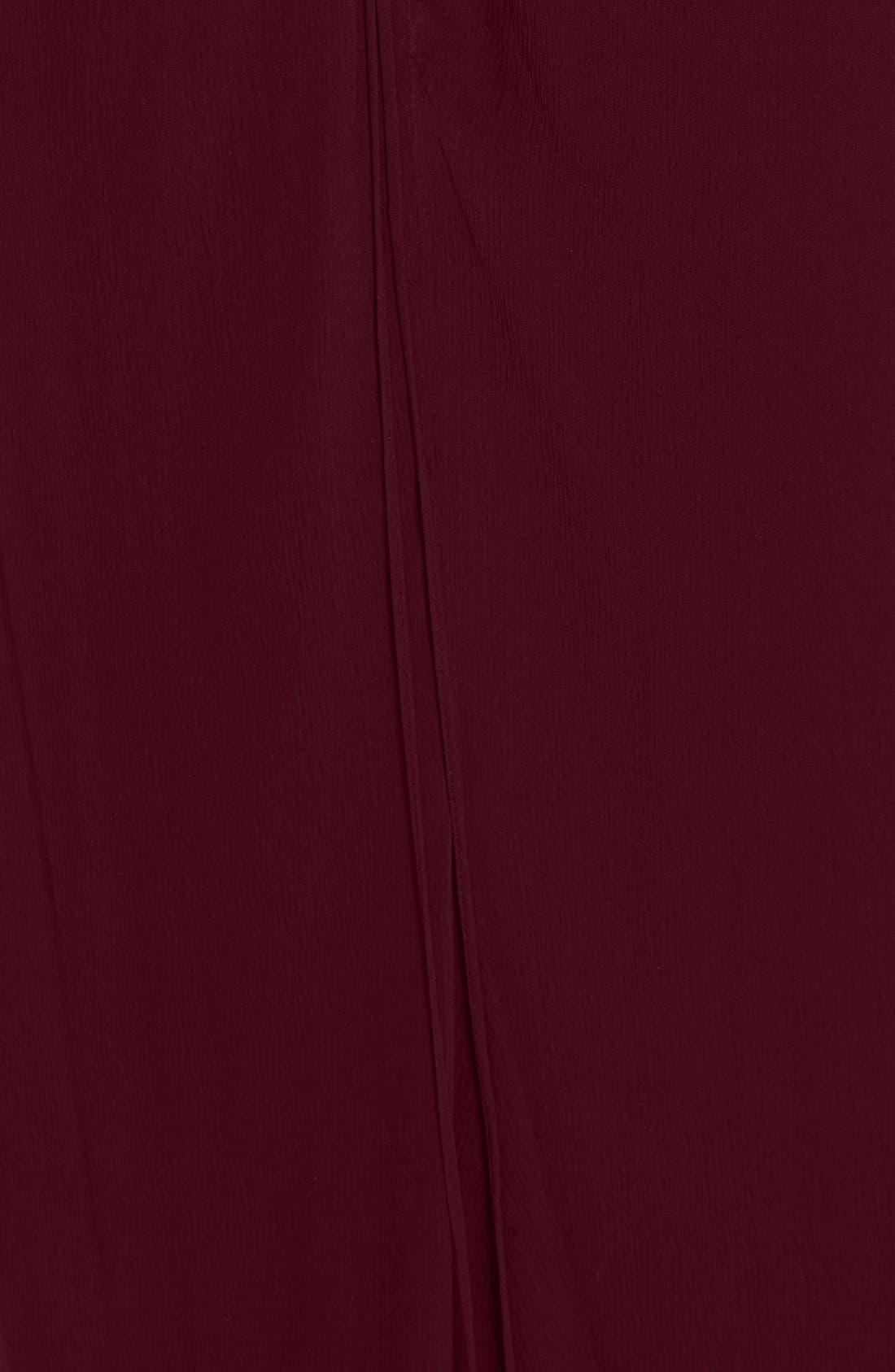 Ruffle Detail Silk Chiffon V-Neck Gown,                             Alternate thumbnail 8, color,