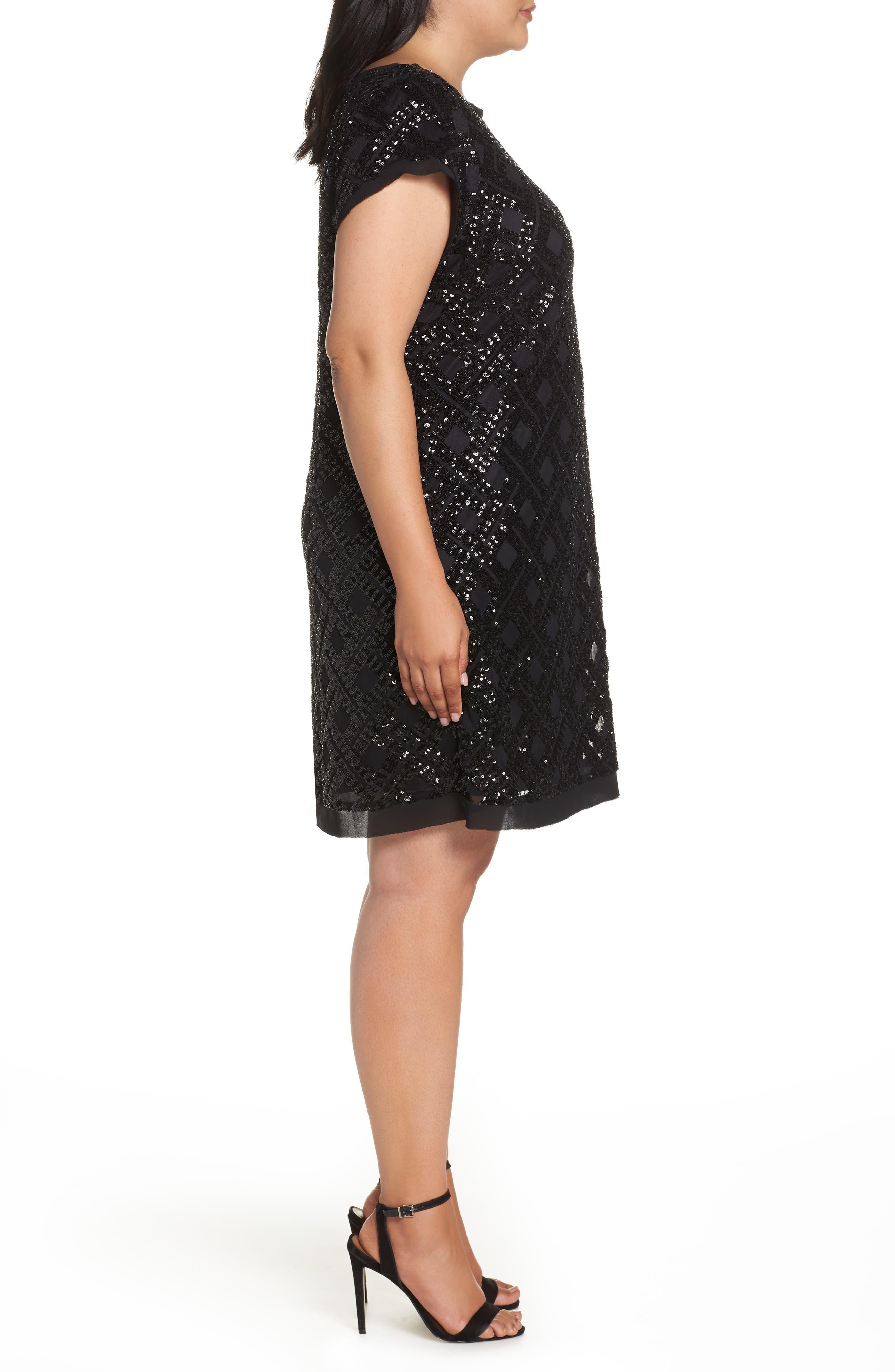 Sequin Sheath Dress,                             Alternate thumbnail 3, color,                             001