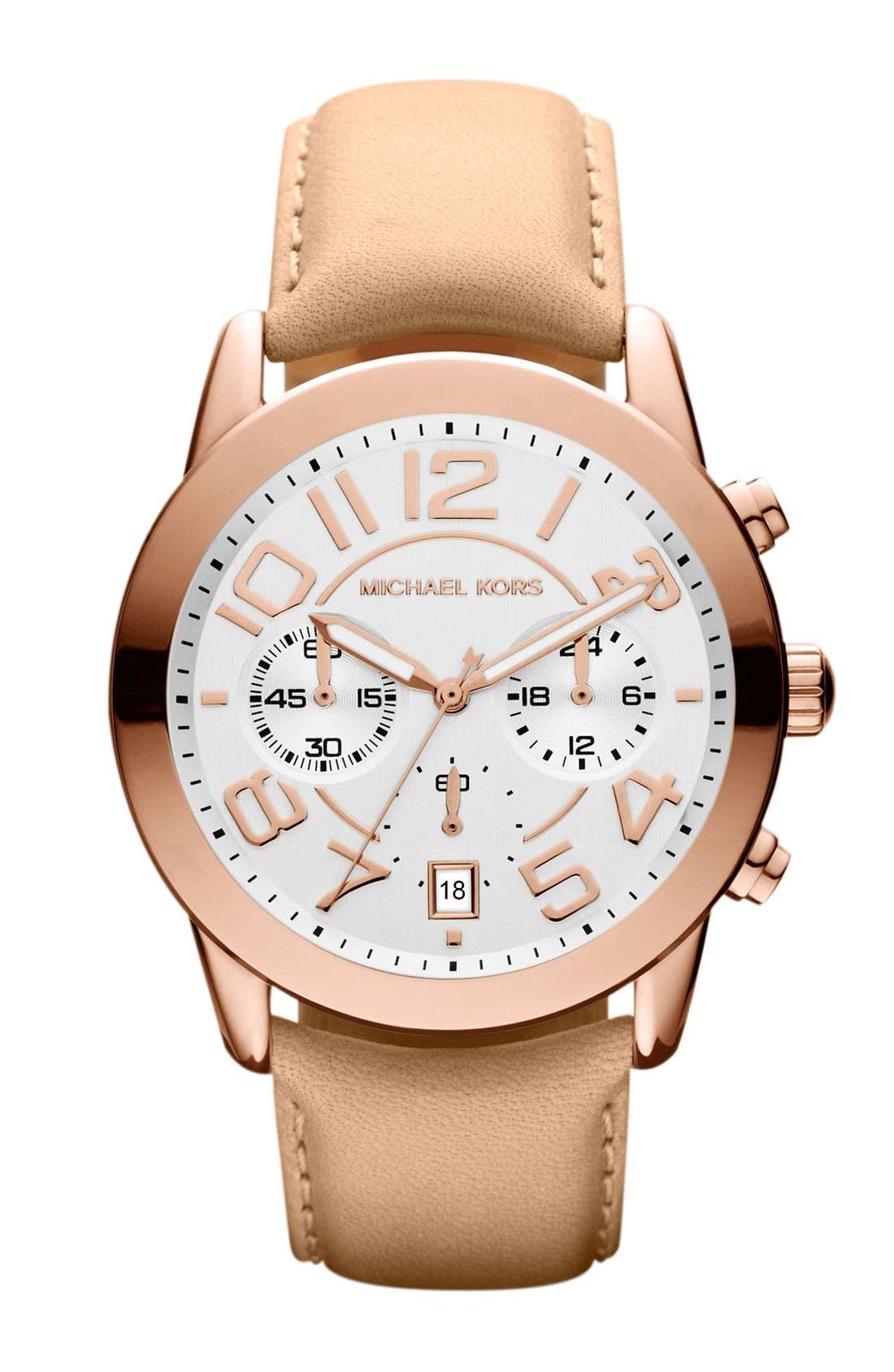 Michael Kors Chronograph Leather Strap Watch, 41mm,                             Main thumbnail 6, color,