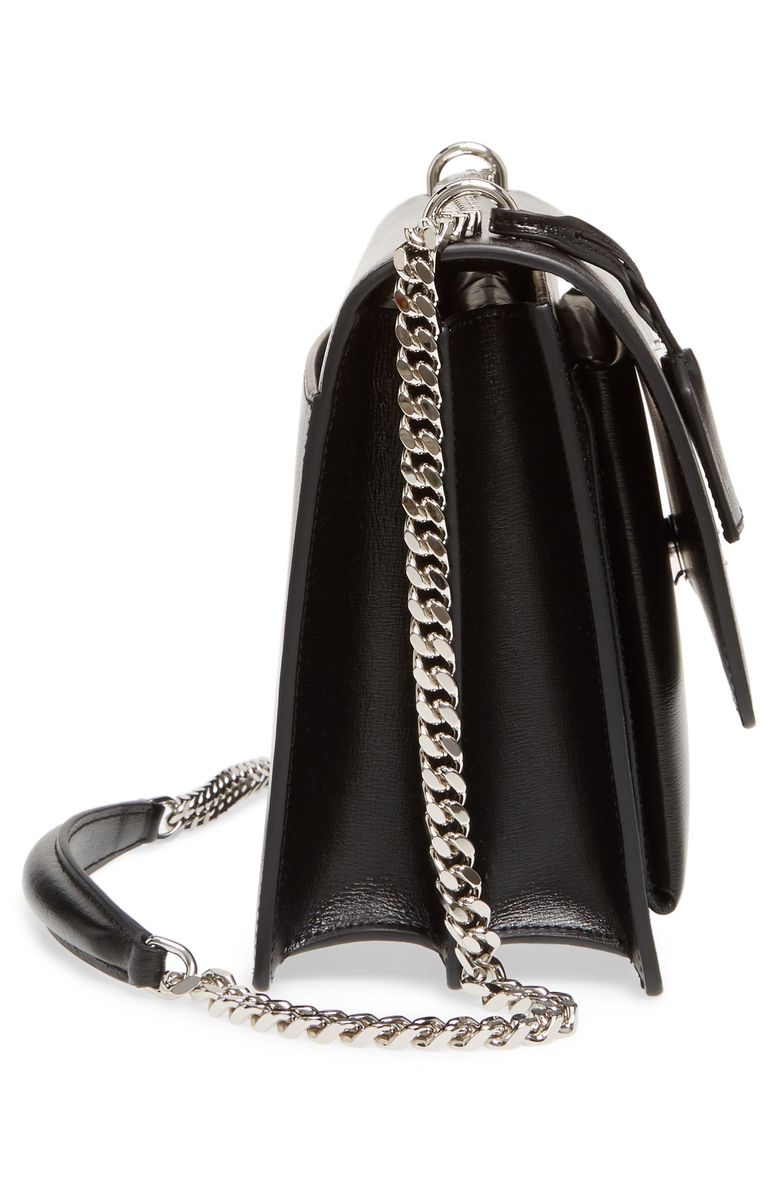 Medium Sunset Leather Shoulder Bag,                             Alternate thumbnail 5, color,                             NOIR