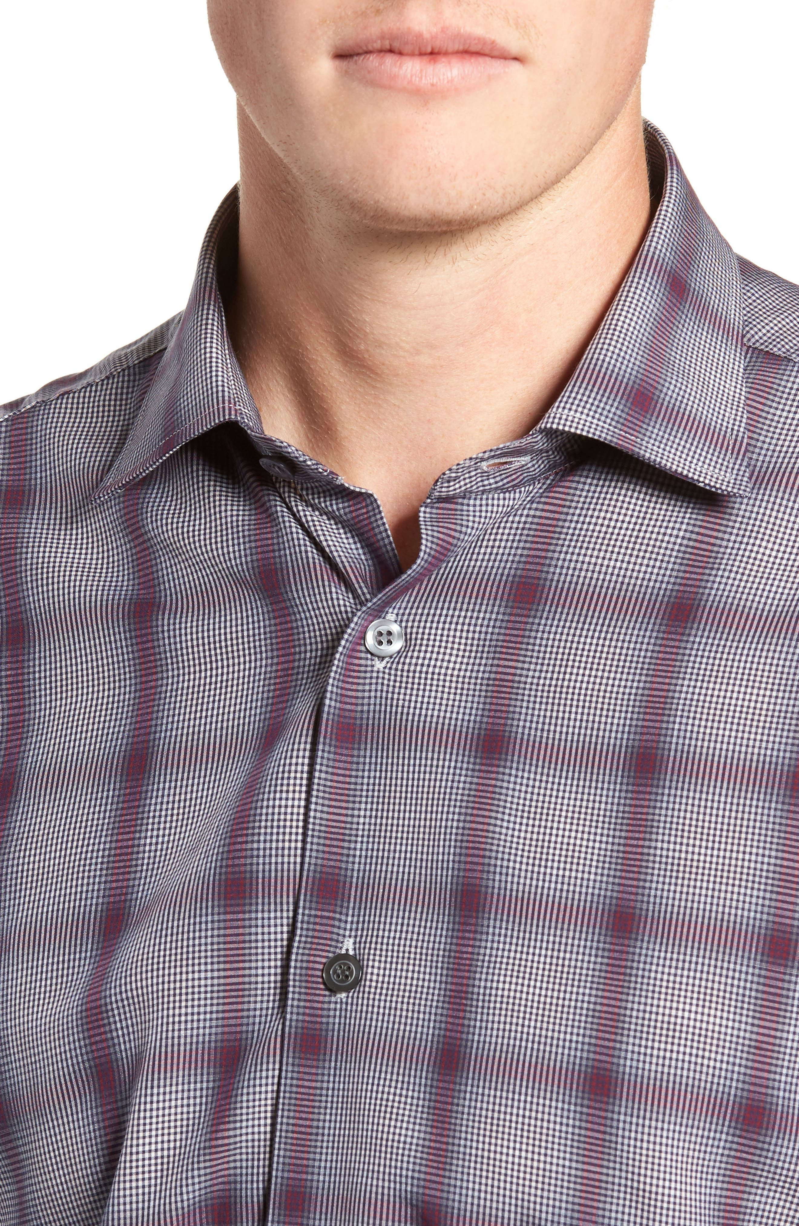 Tailored Fit Plaid Sport Shirt,                             Alternate thumbnail 2, color,                             600