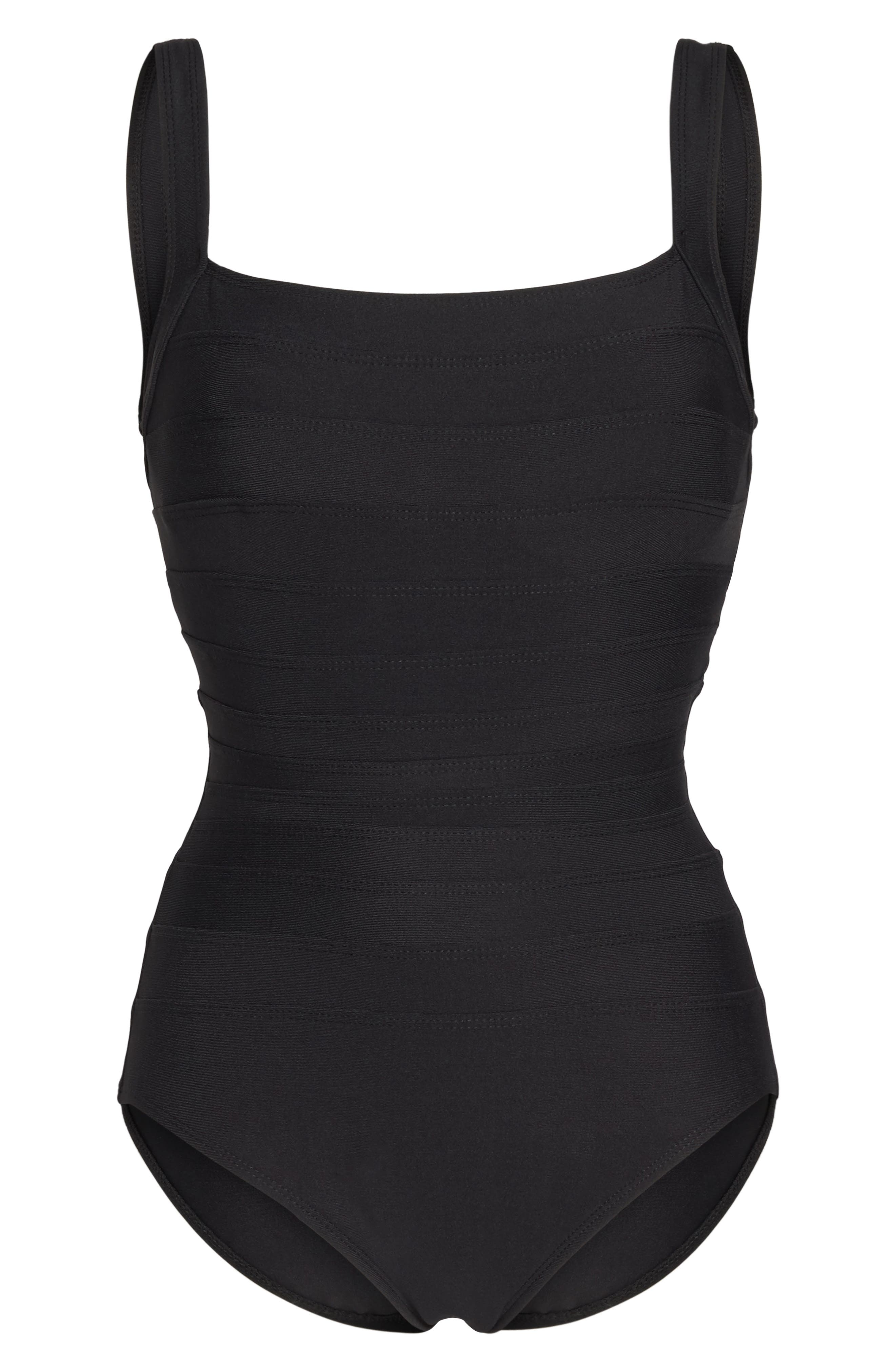 'Spectra' Banded Maillot,                             Alternate thumbnail 7, color,                             BLACK TONES