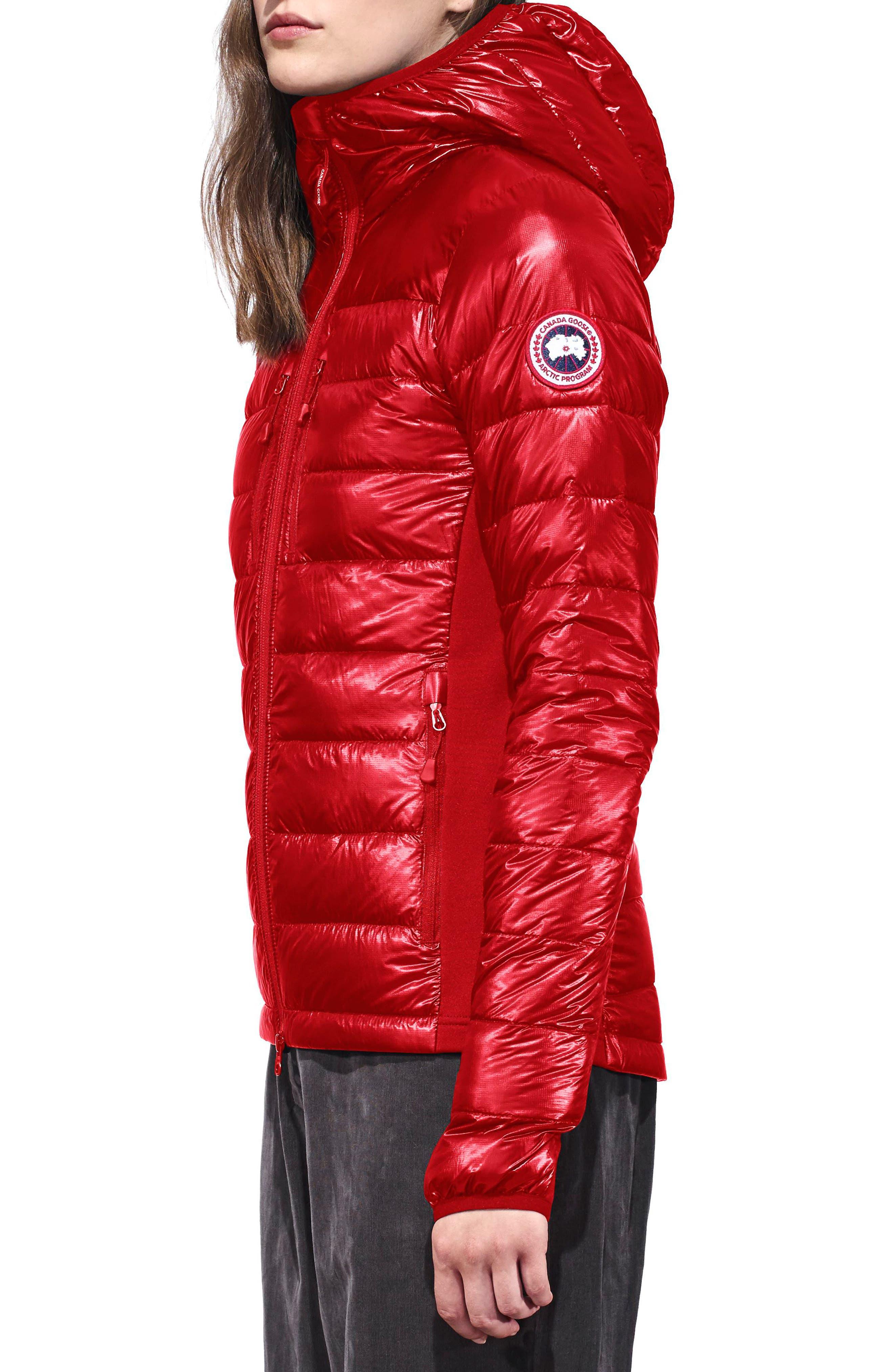 'Hybridge Lite' Slim Fit Hooded Packable Down Jacket,                             Alternate thumbnail 3, color,                             S RED/ L BLACK