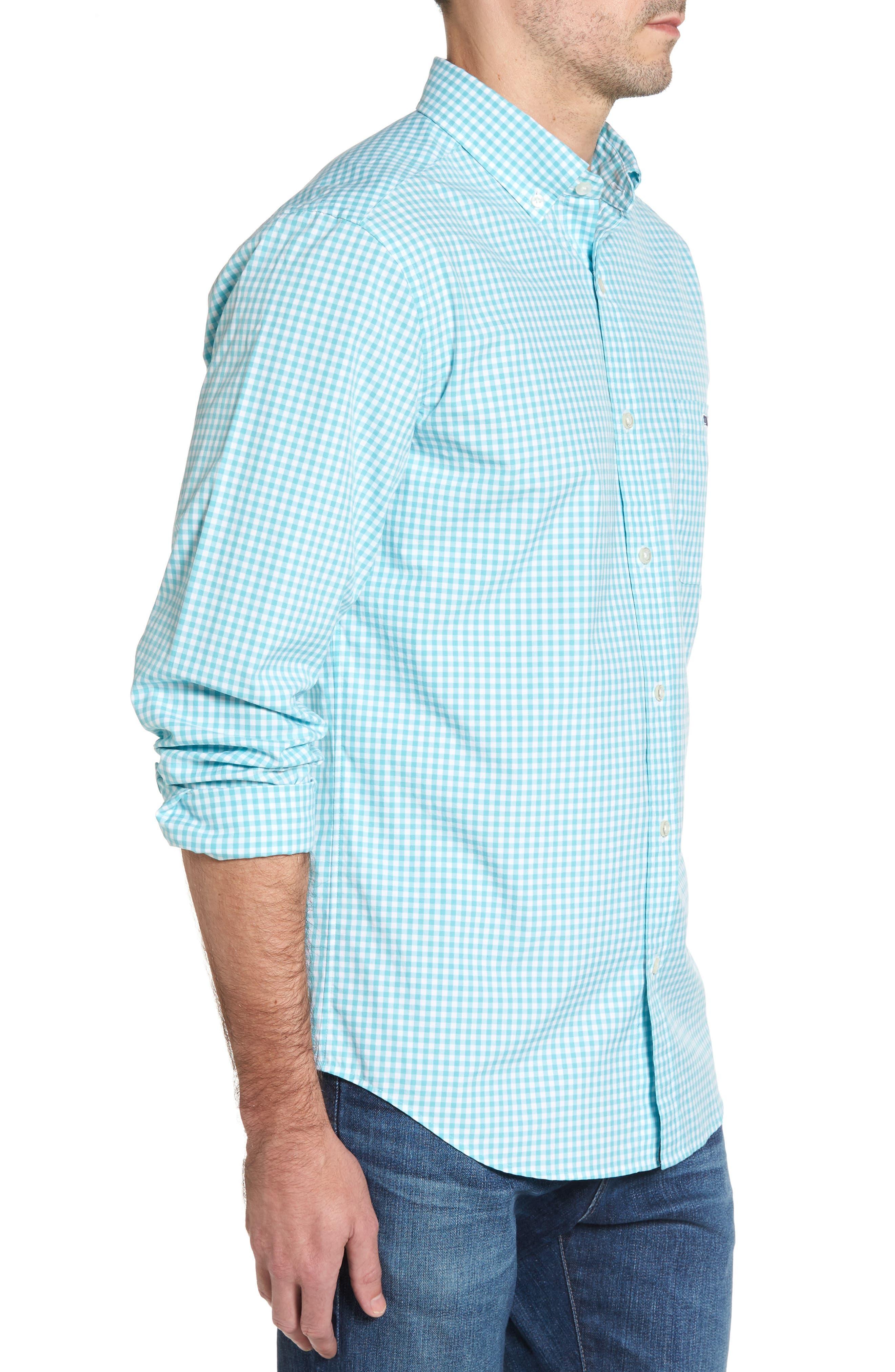 VINEYARD VINES,                             Seafloor Tucker Gingham Sport Shirt,                             Alternate thumbnail 3, color,                             302