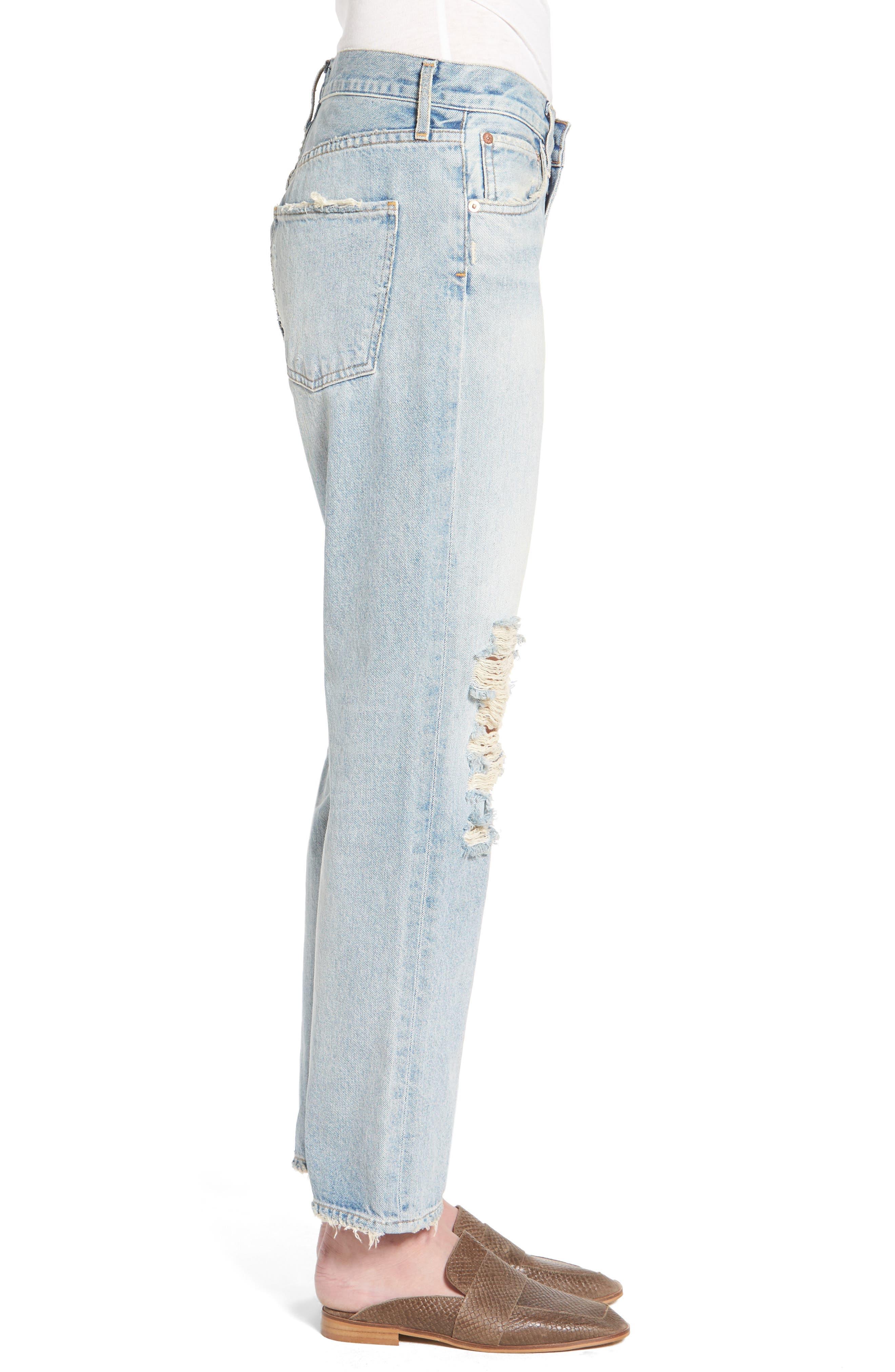 Ripped High Waist Straight Leg Jeans,                             Alternate thumbnail 3, color,                             457