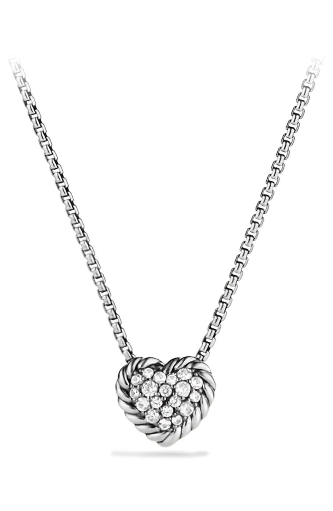 'Châtelaine' Heart Pendant Necklace with Diamonds,                         Main,                         color, DIAMOND