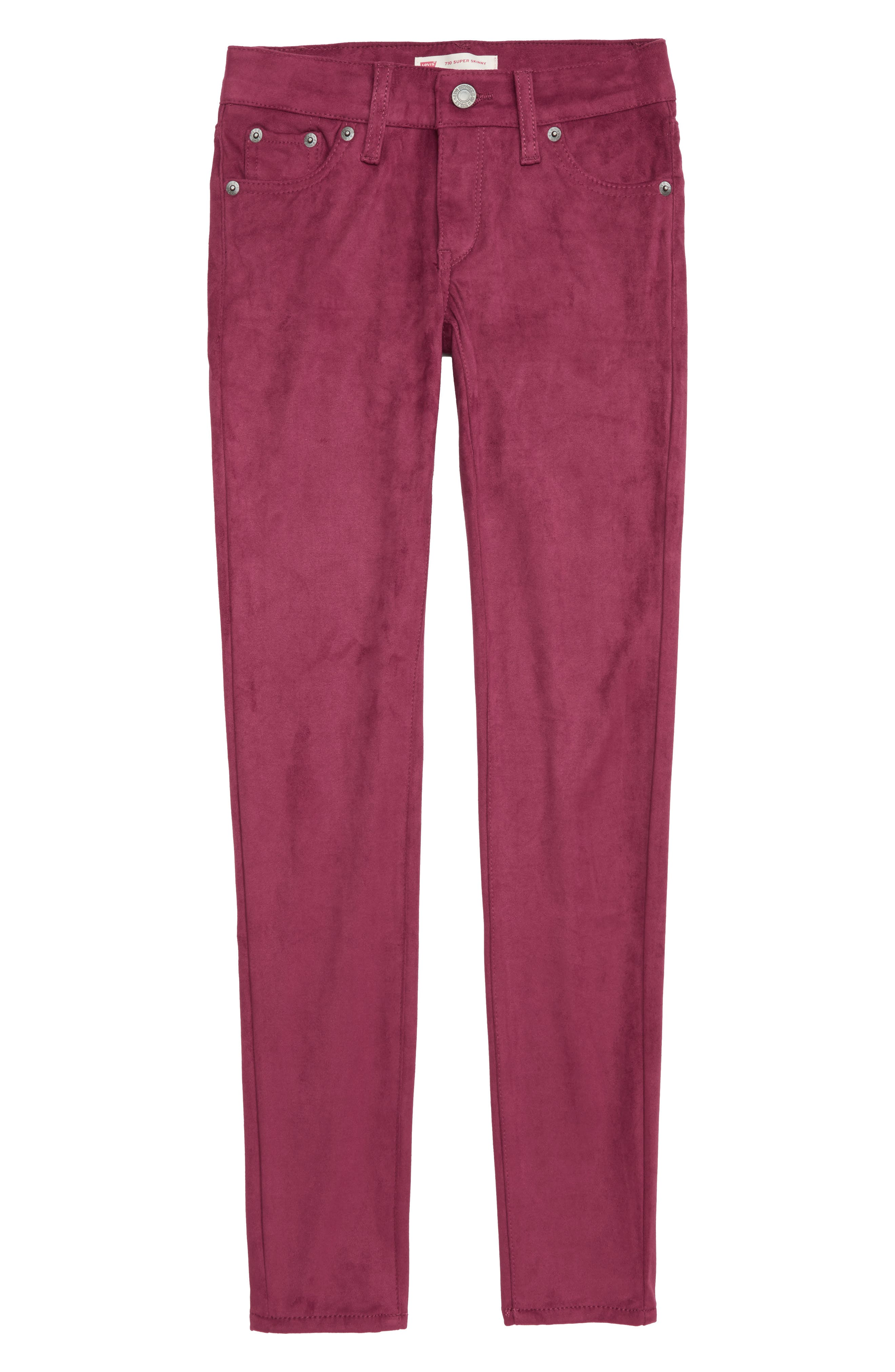 710<sup>™</sup> Super Skinny Faux Suede Jeans,                         Main,                         color, BEET RED