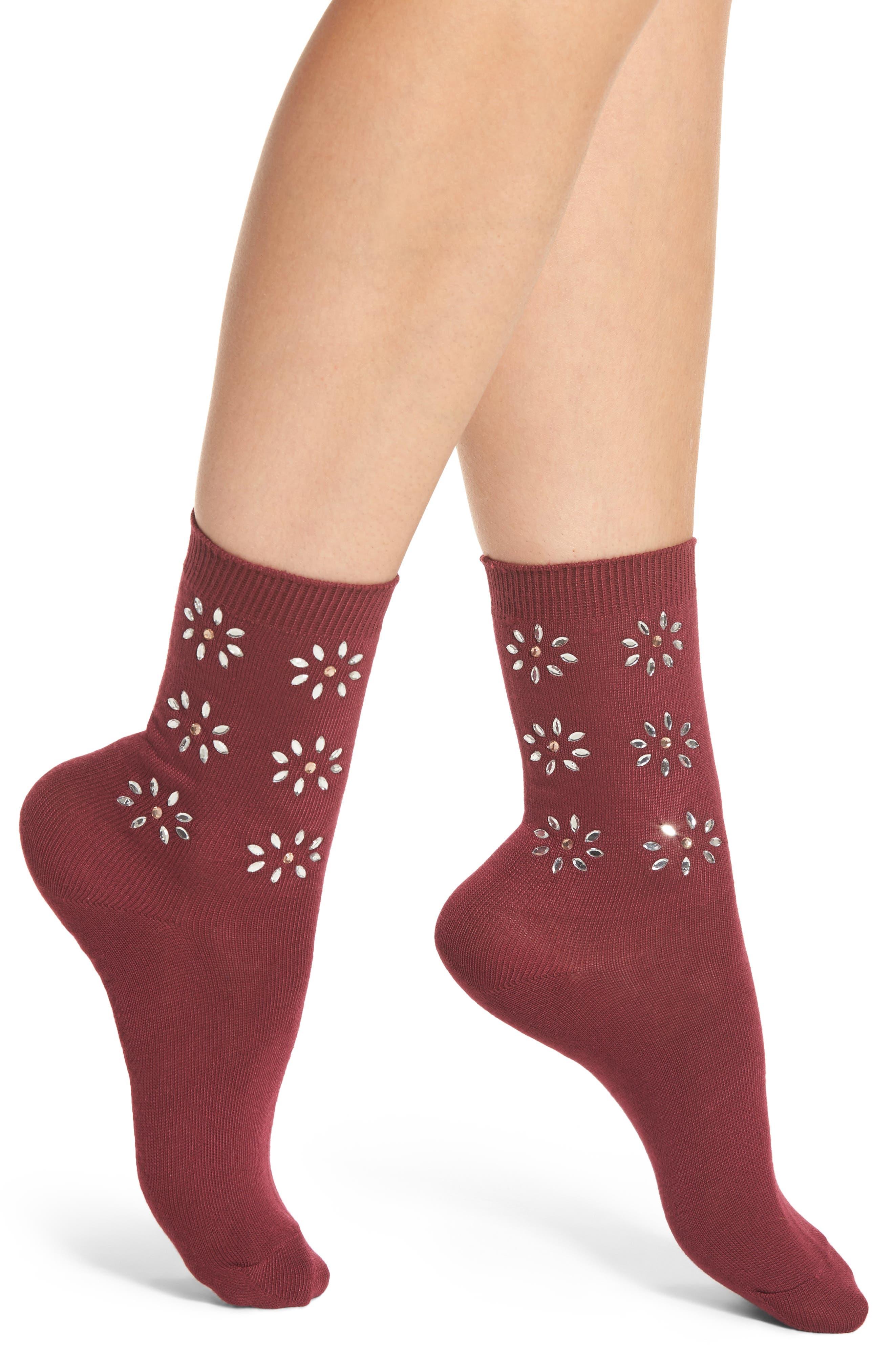 Crystal Flower Crew Socks,                             Main thumbnail 2, color,