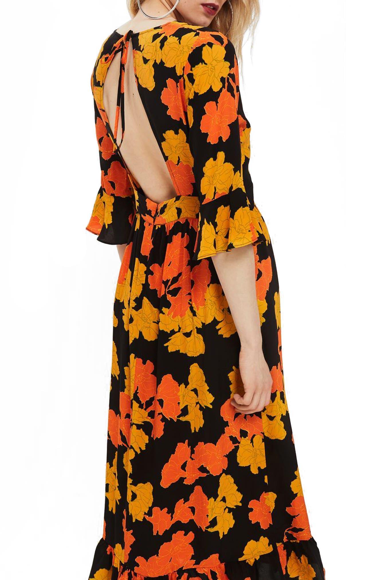 TOPSHOP,                             Bold Floral Midi Dress,                             Alternate thumbnail 2, color,                             001
