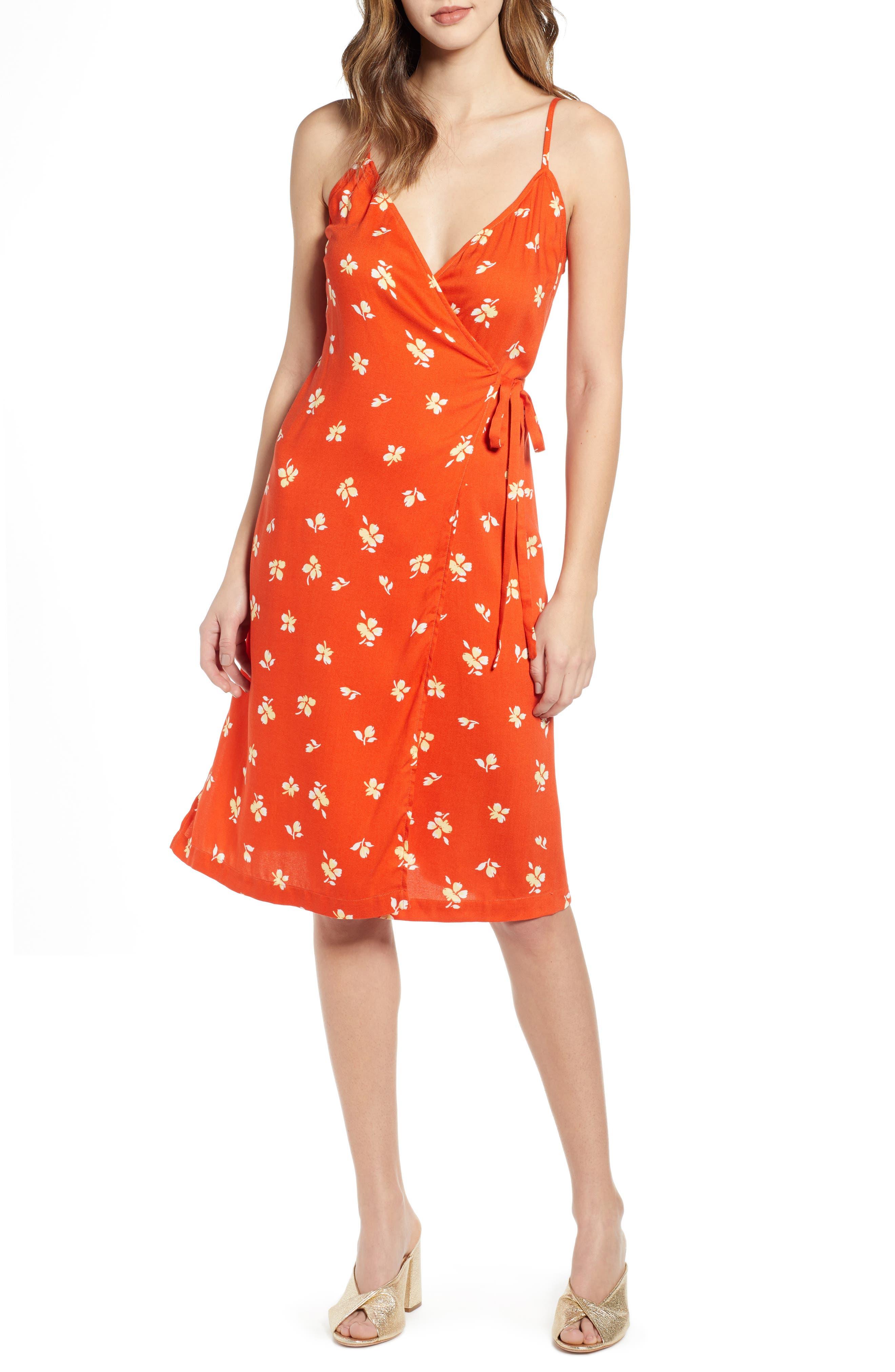 Leith Everyday Wrap Dress, Orange