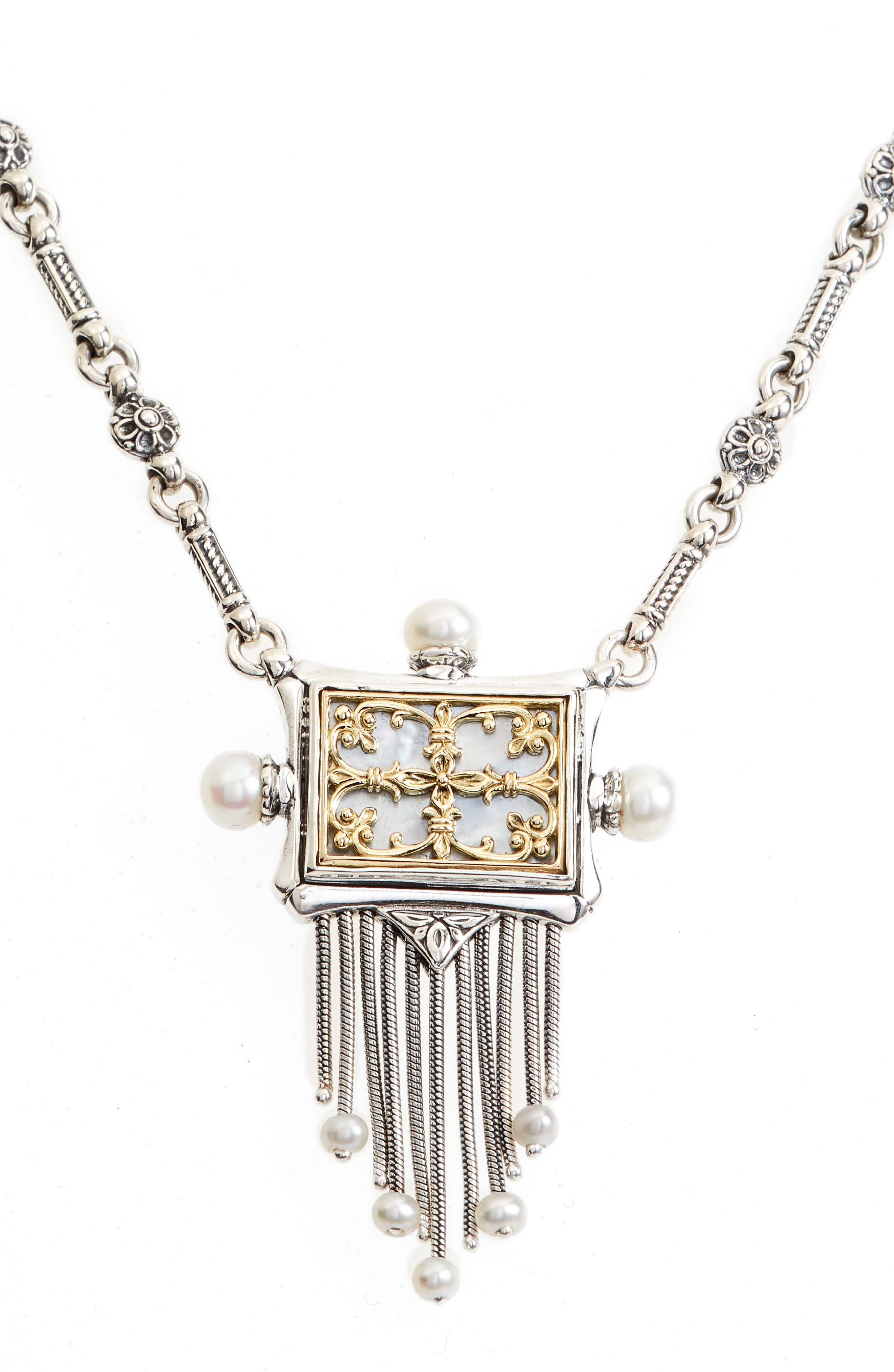 Etched Sterling Silver & Pearl Fringe Pendant,                         Main,                         color, SILVER/ GOLD/ WHITE