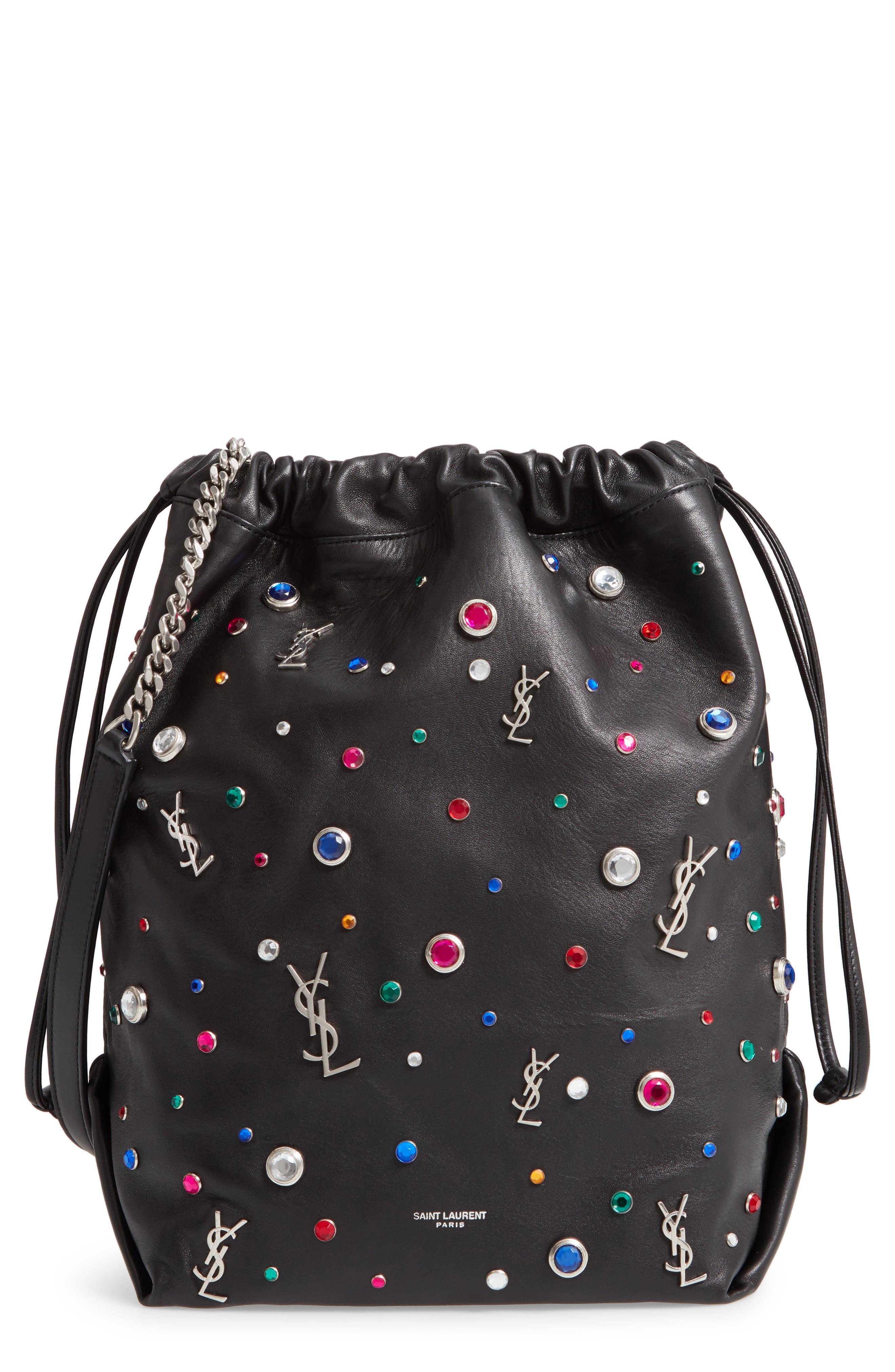 Teddy Studded Leather Bucket Bag,                         Main,                         color, NOIR MULTI