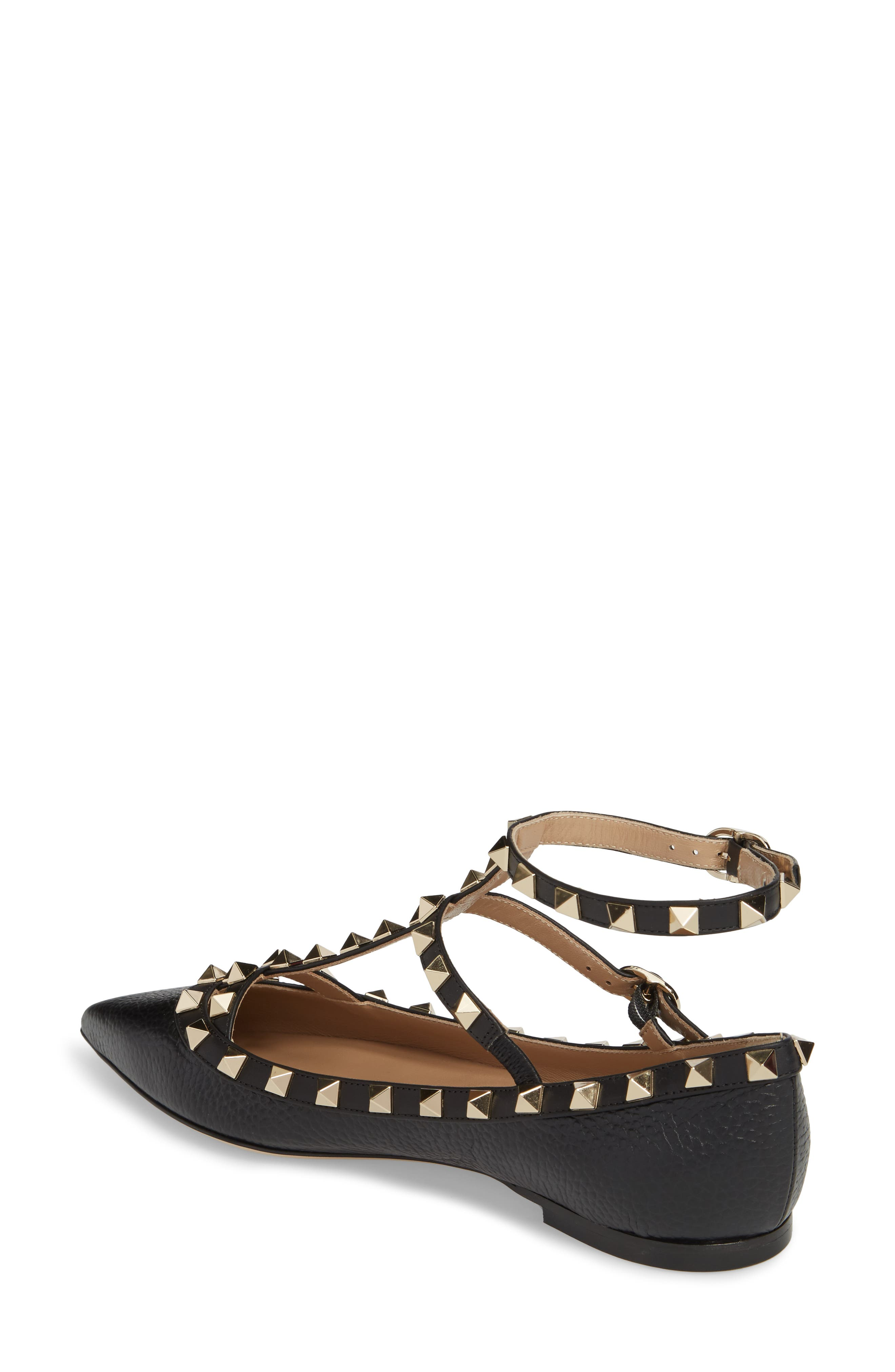 Rockstud Ankle Strap Pointy Toe Flat,                             Alternate thumbnail 2, color,                             001