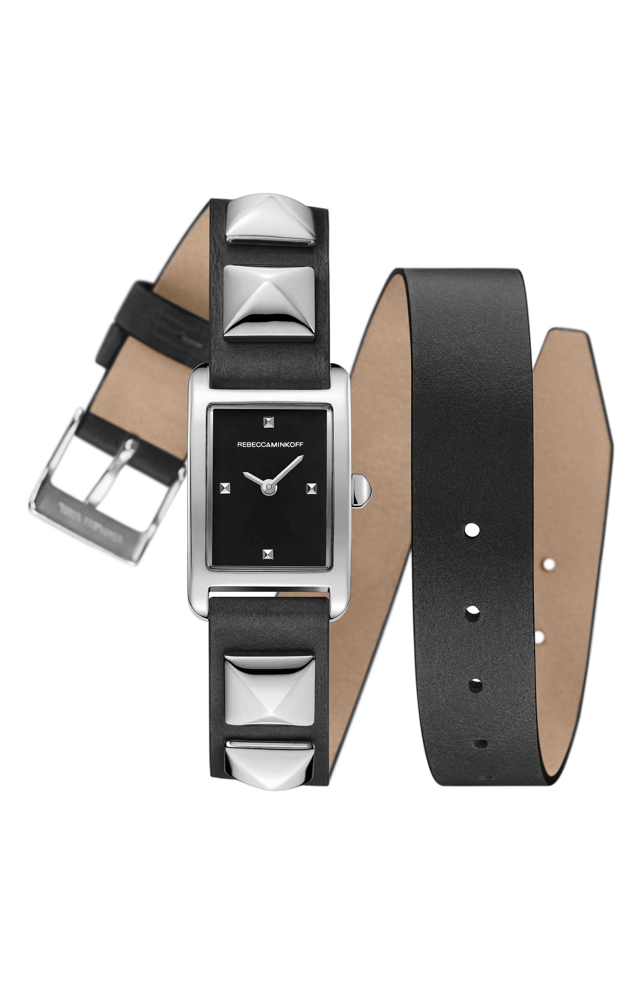Wrap Leather Strap Watch, 19mm x 30mm,                             Main thumbnail 1, color,                             001