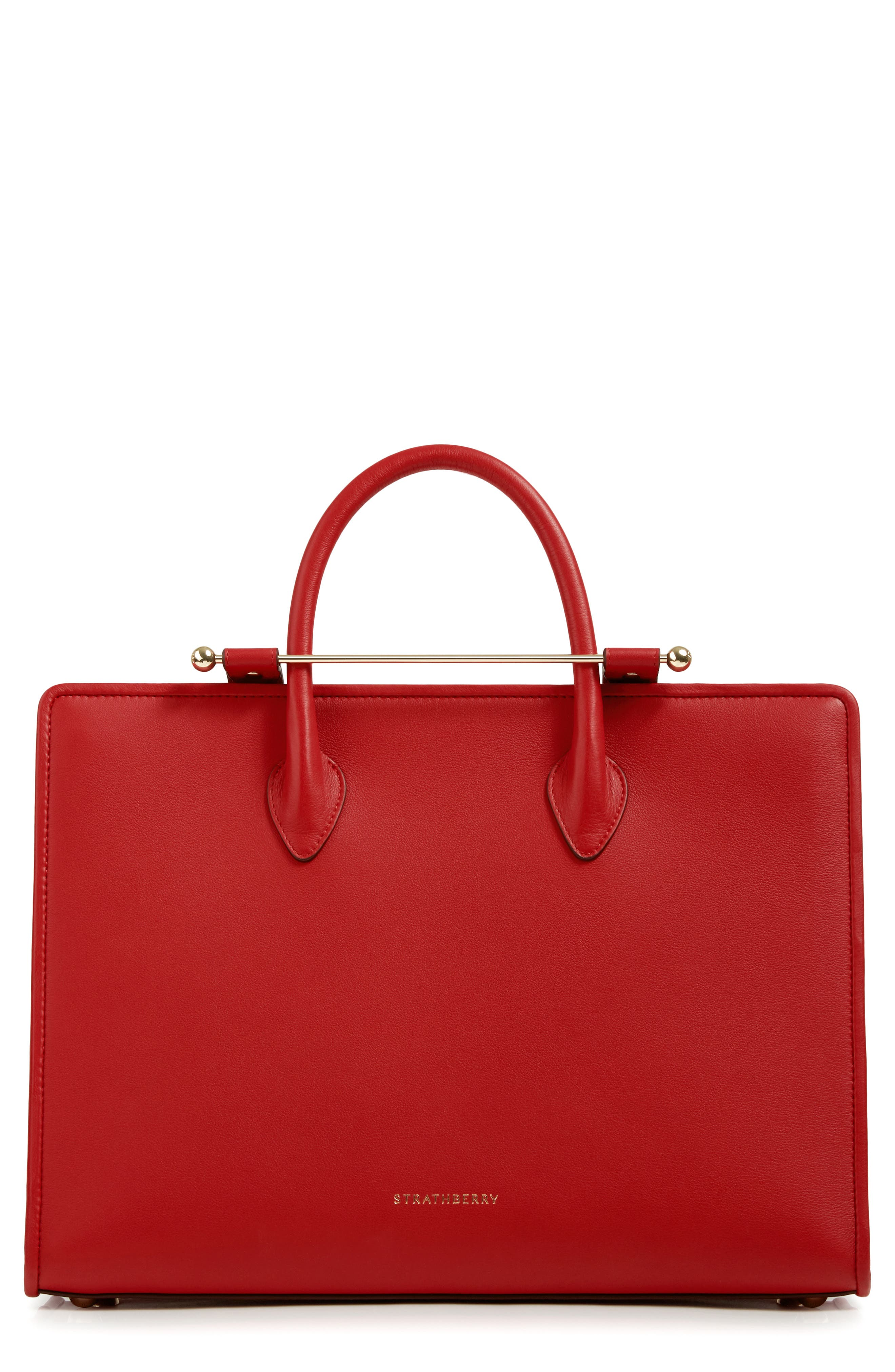 Large Leather Tote,                         Main,                         color, RUBY