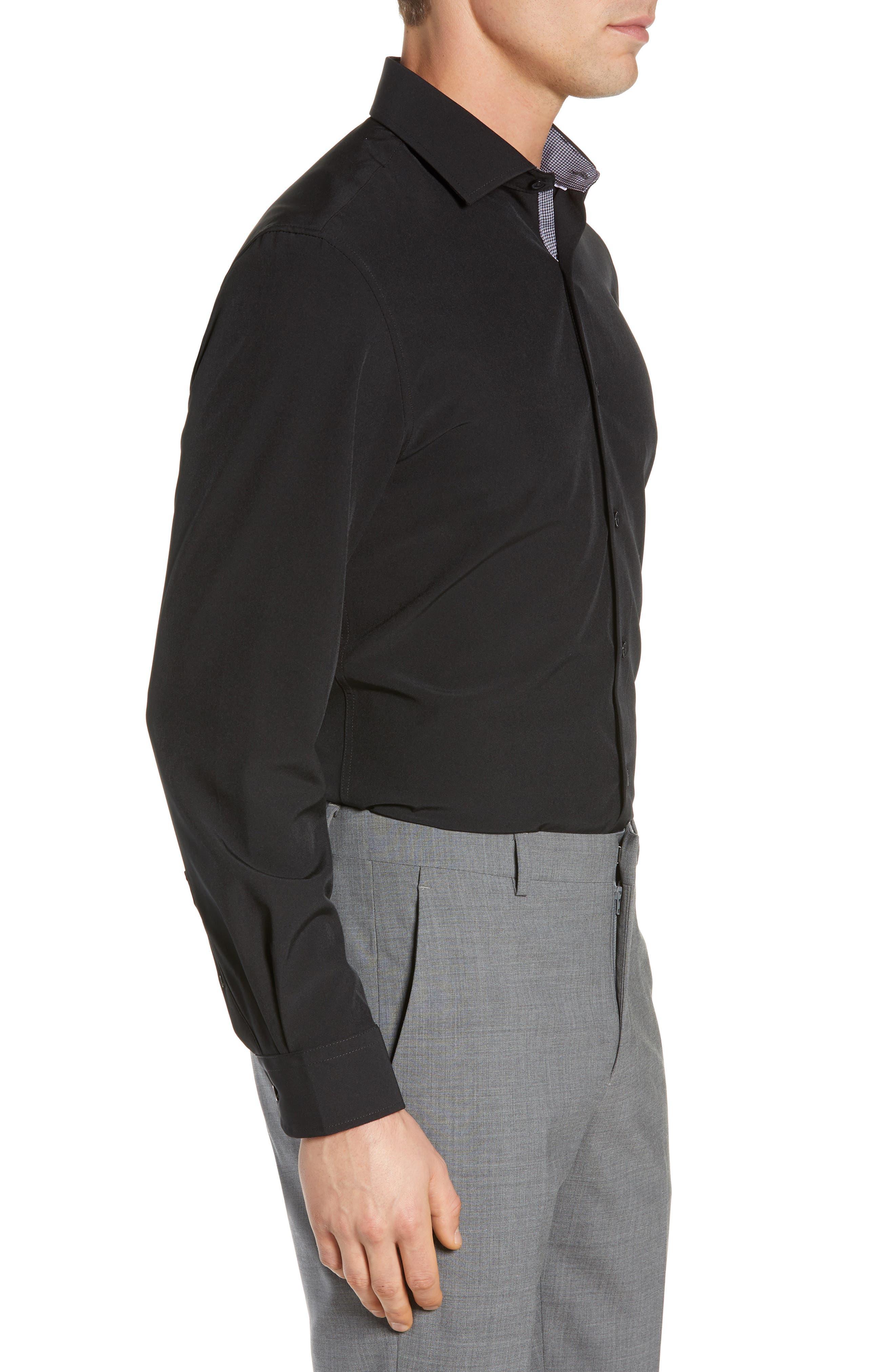 Trim Fit Stretch Solid Dress Shirt,                             Alternate thumbnail 4, color,                             BLACK