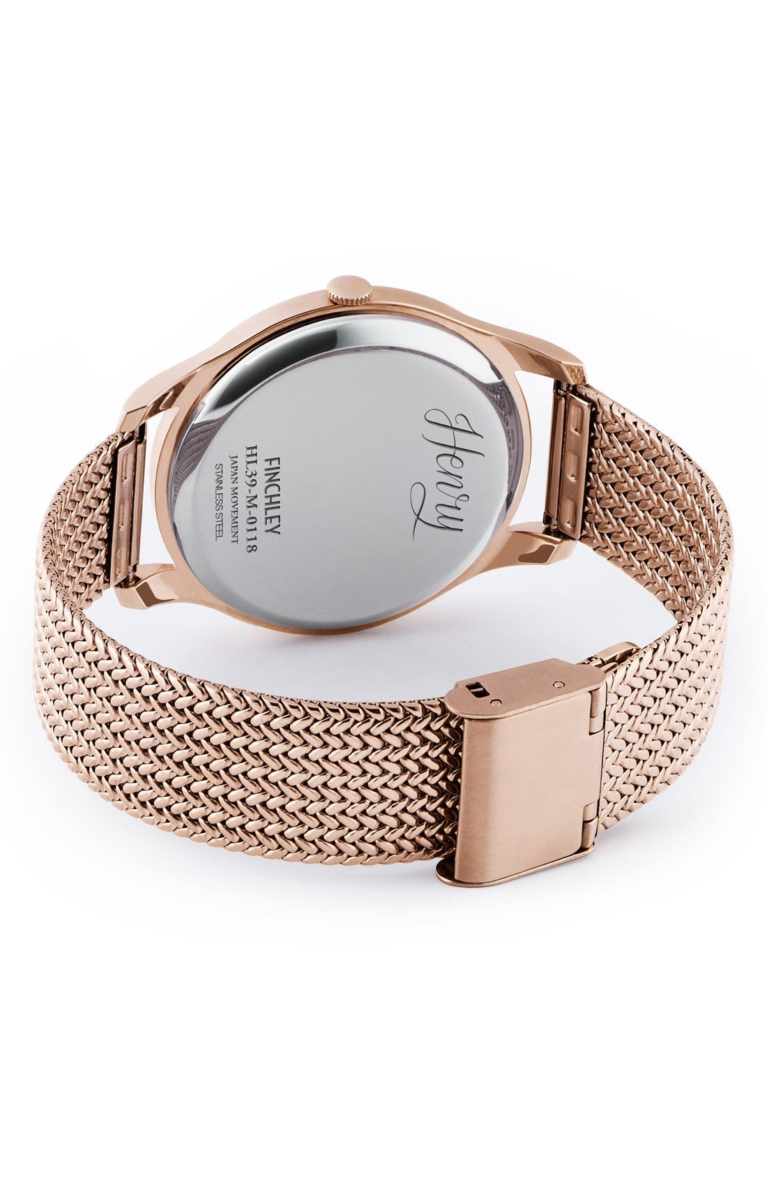 'Finchley' Analog Mesh Strap Watch, 38mm,                             Alternate thumbnail 3, color,                             ROSE GOLD/ SLATE GREY
