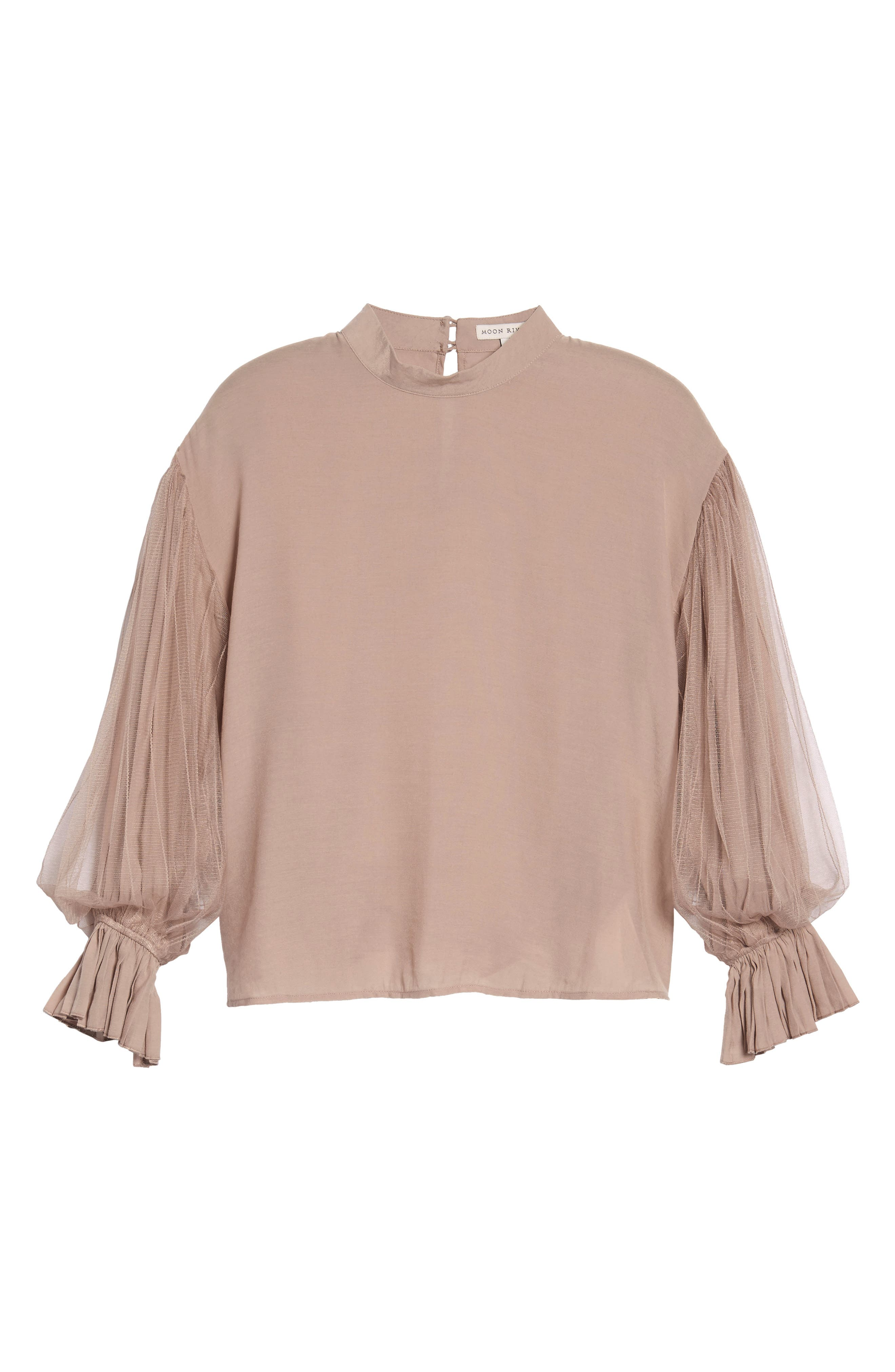 Tulle Puff Sleeve Top,                             Alternate thumbnail 6, color,                             650