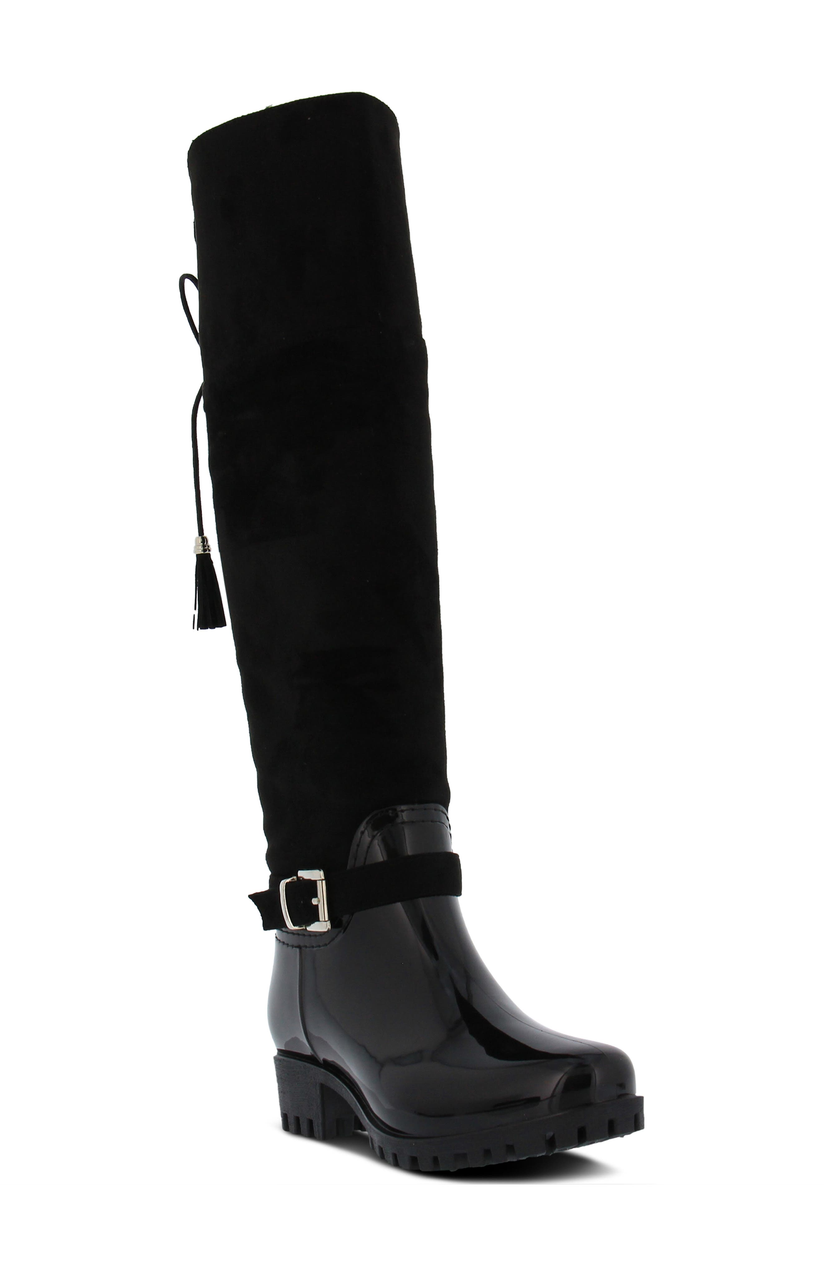 Mattie Over the Knee Waterproof Boot,                             Main thumbnail 1, color,                             BLACK