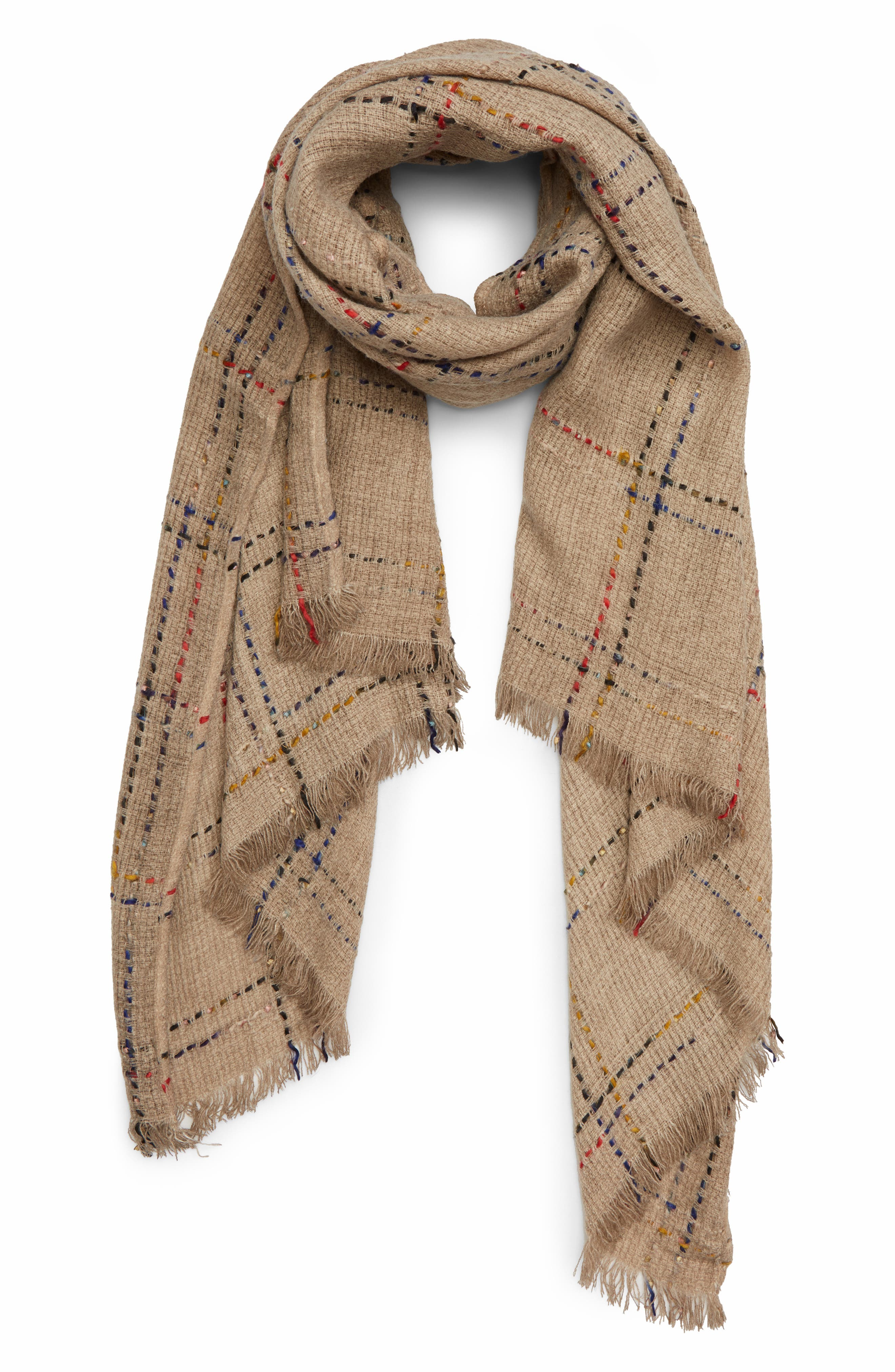 Multicolor Grid Scarf,                         Main,                         color, TAN