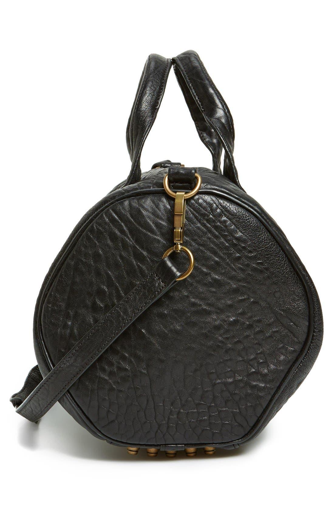 'Rocco - Antique Brass' Leather Satchel,                             Alternate thumbnail 5, color,                             001