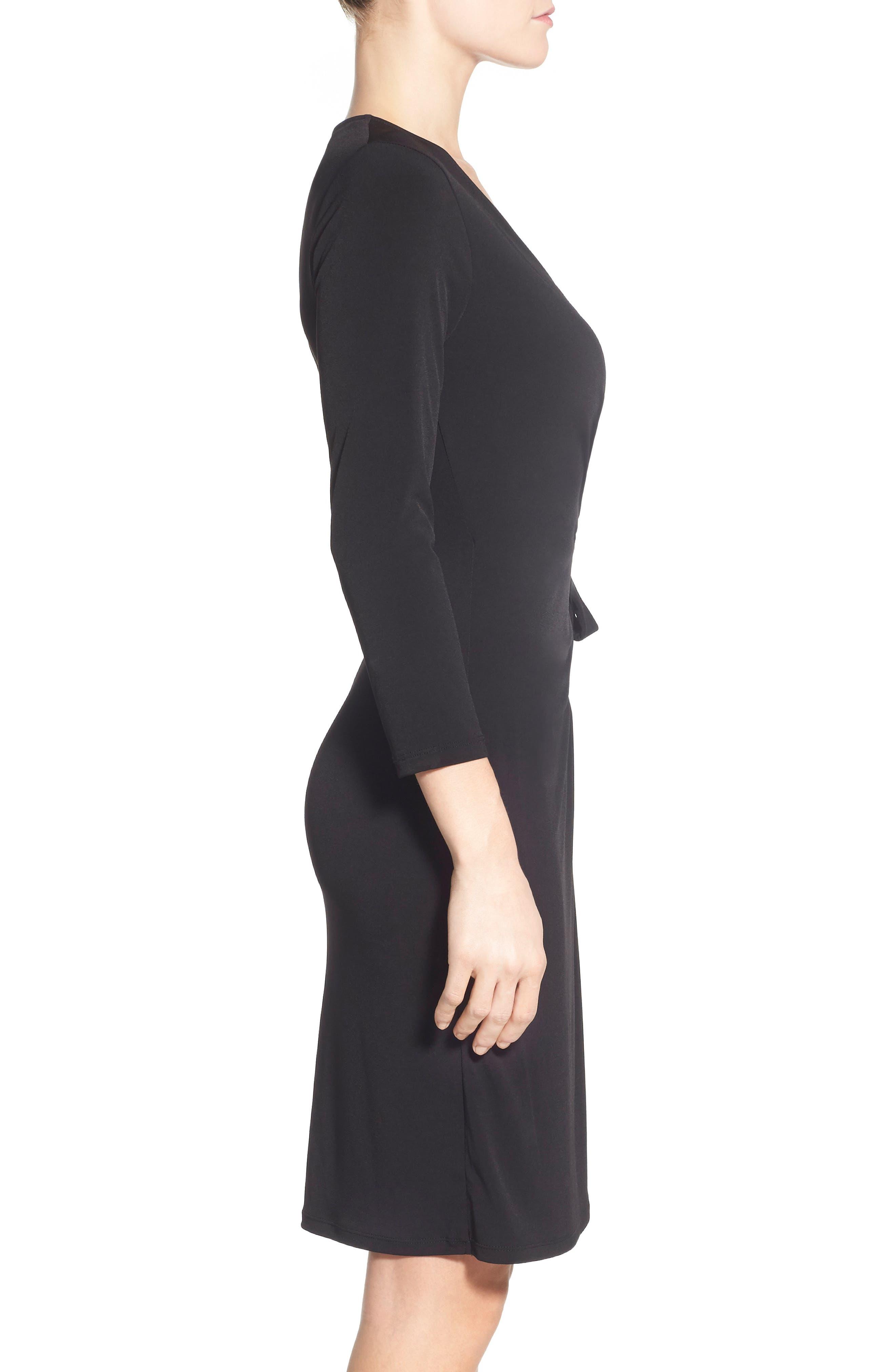 Faux Wrap Jersey Dress,                             Alternate thumbnail 2, color,                             BLACK